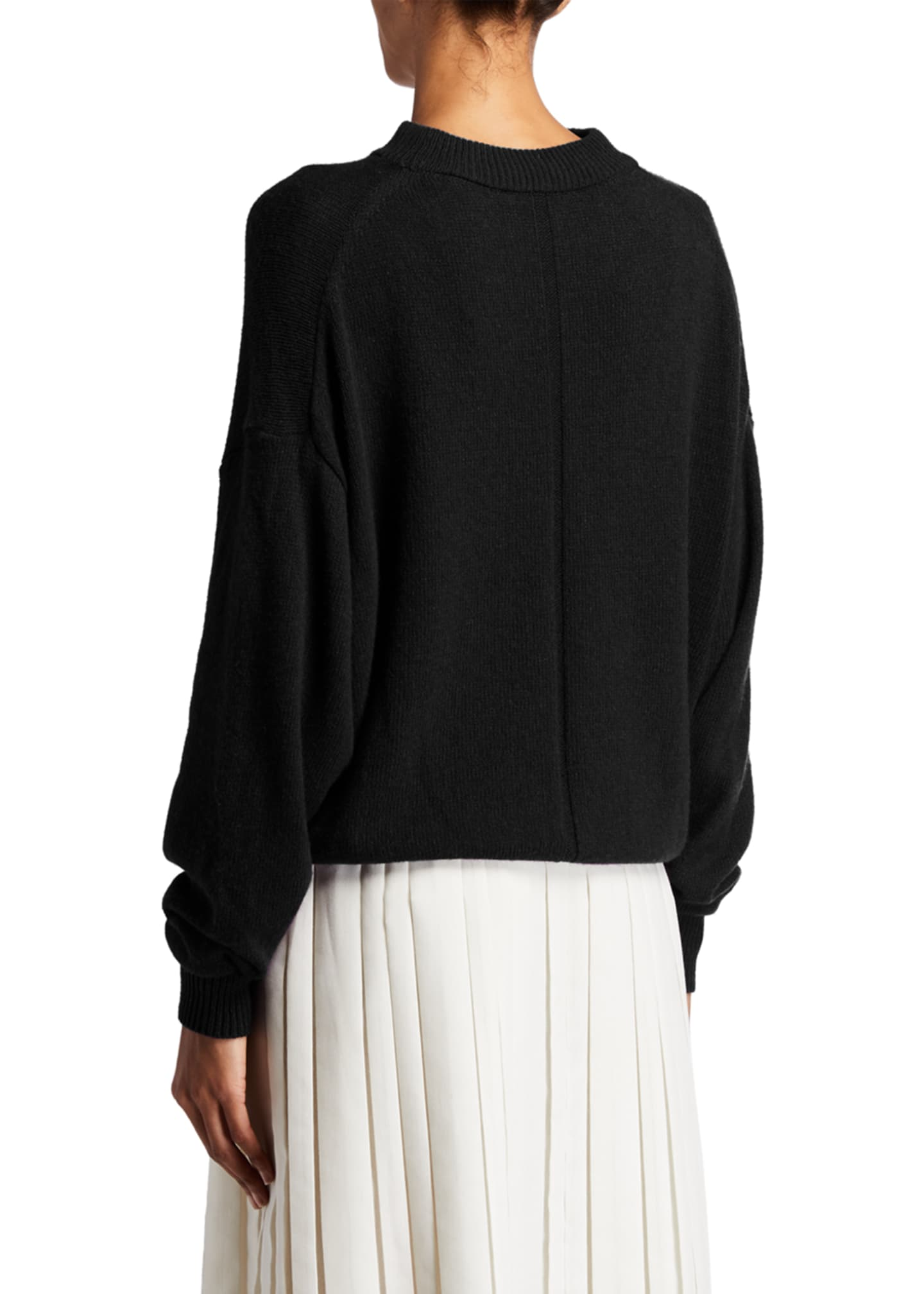 Image 2 of 2: Ophelia Knit Cashmere Drop-Shoulder Sweater