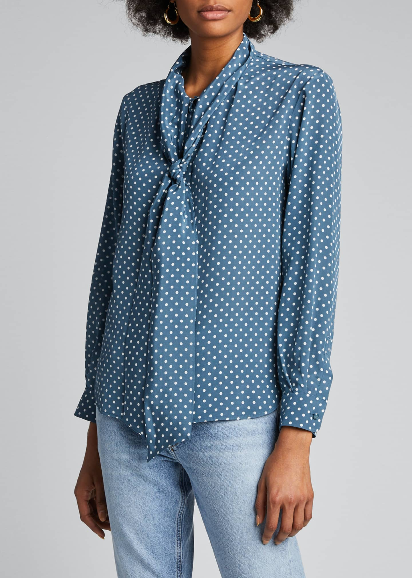 Image 3 of 5: Bali Polka-Dotted Silk Tie-Neck Top