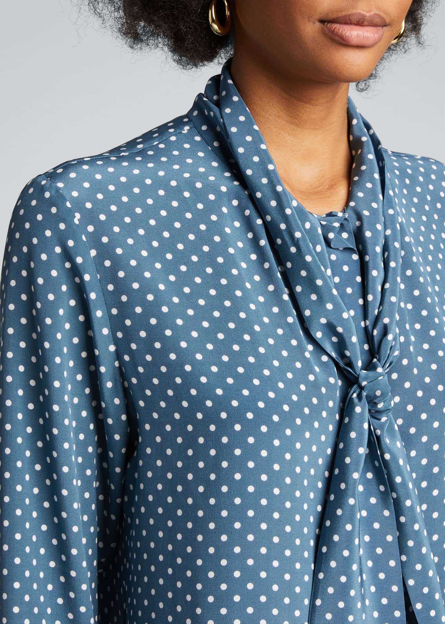 Image 4 of 5: Bali Polka-Dotted Silk Tie-Neck Top