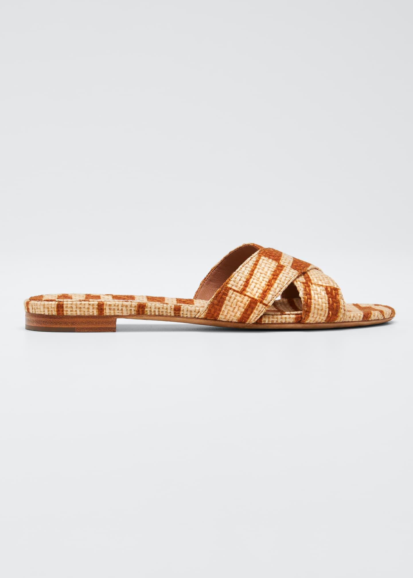 Tabitha Simmons Lassie Two-Tone Raffia Sandals