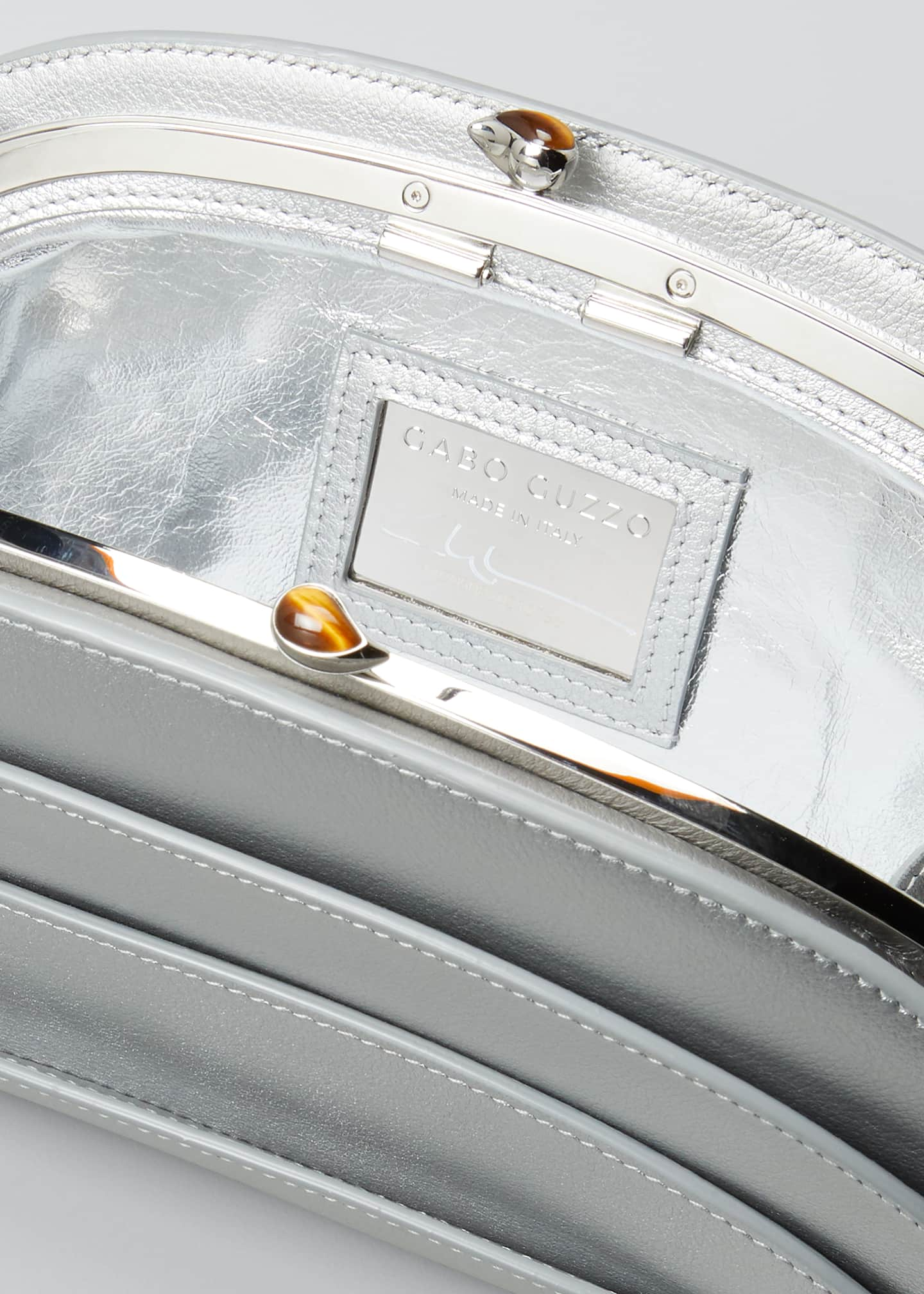 Image 4 of 5: Millefoglie C Leather Clutch Bag