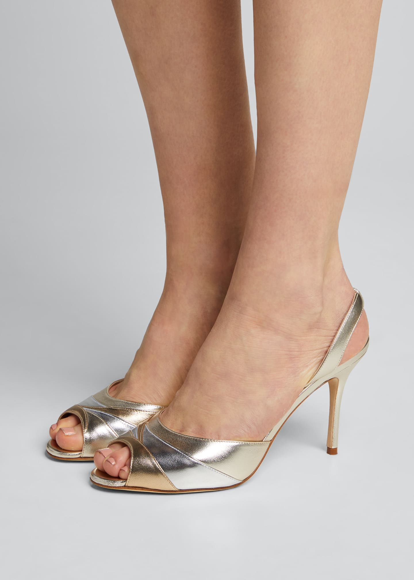 Image 2 of 5: Meteora 90mm Metallic Leather Sandals