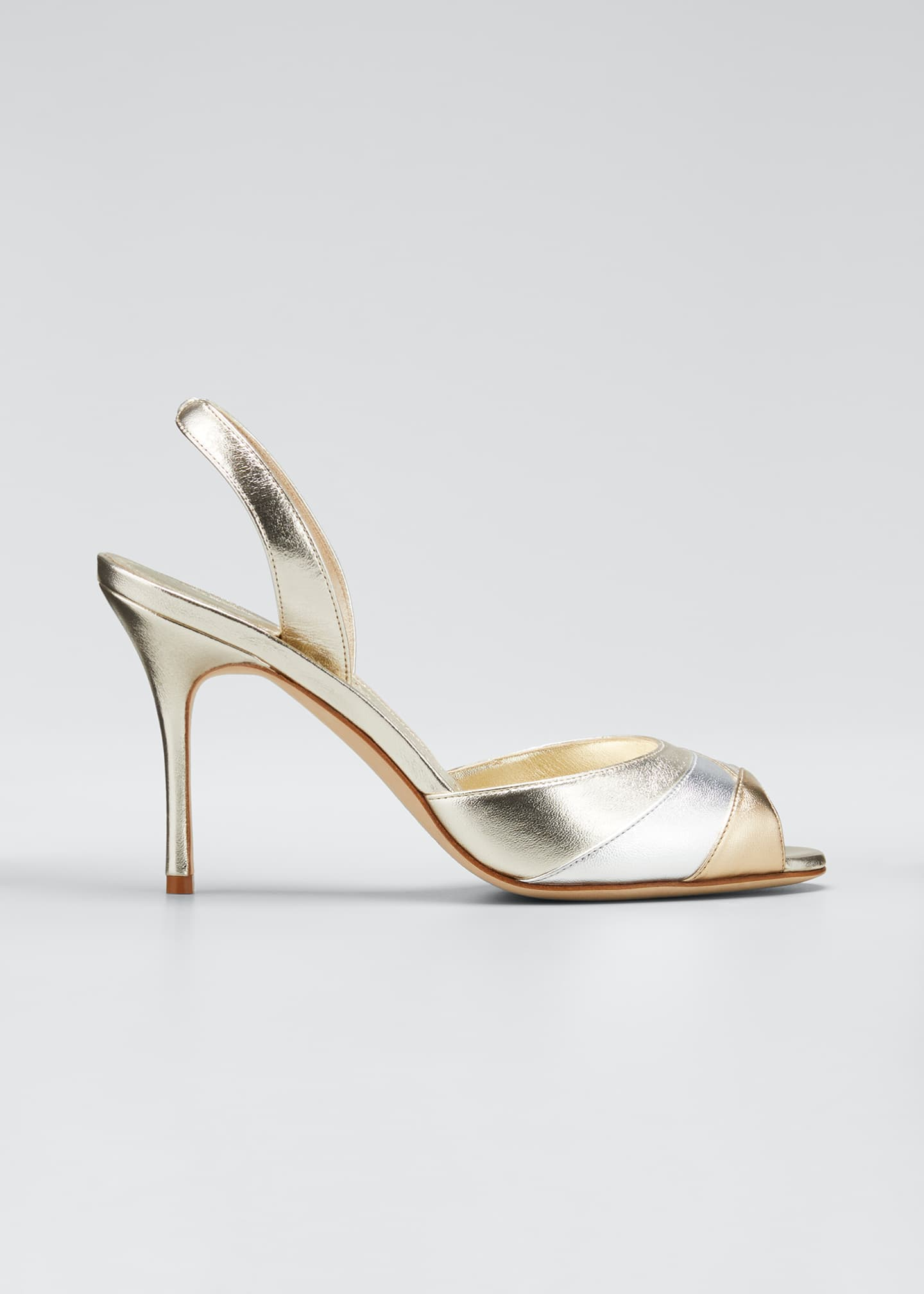 Image 1 of 5: Meteora 90mm Metallic Leather Sandals