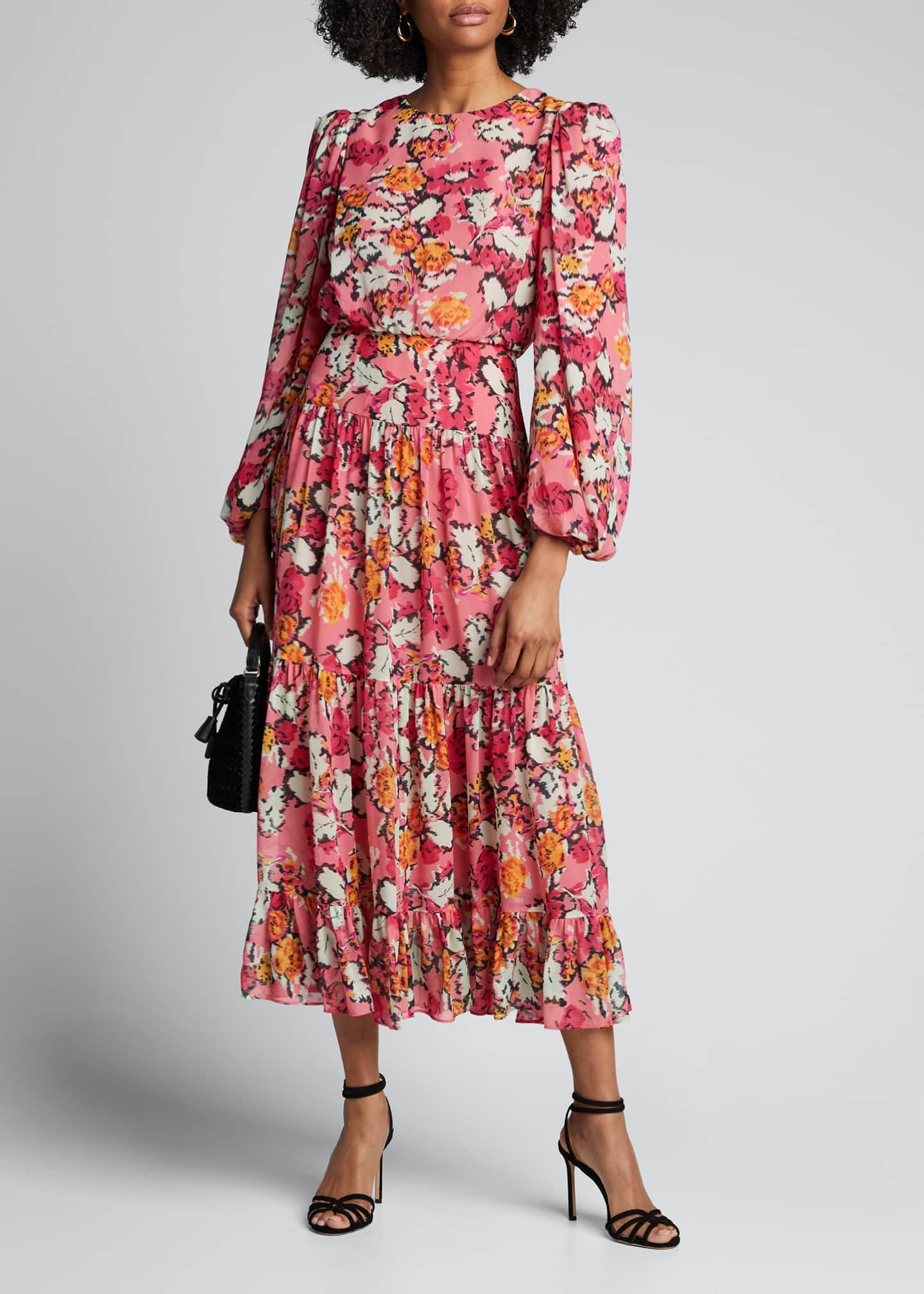 Saloni Jacqui Printed Blouson-Sleeve Tiered Midi Dress