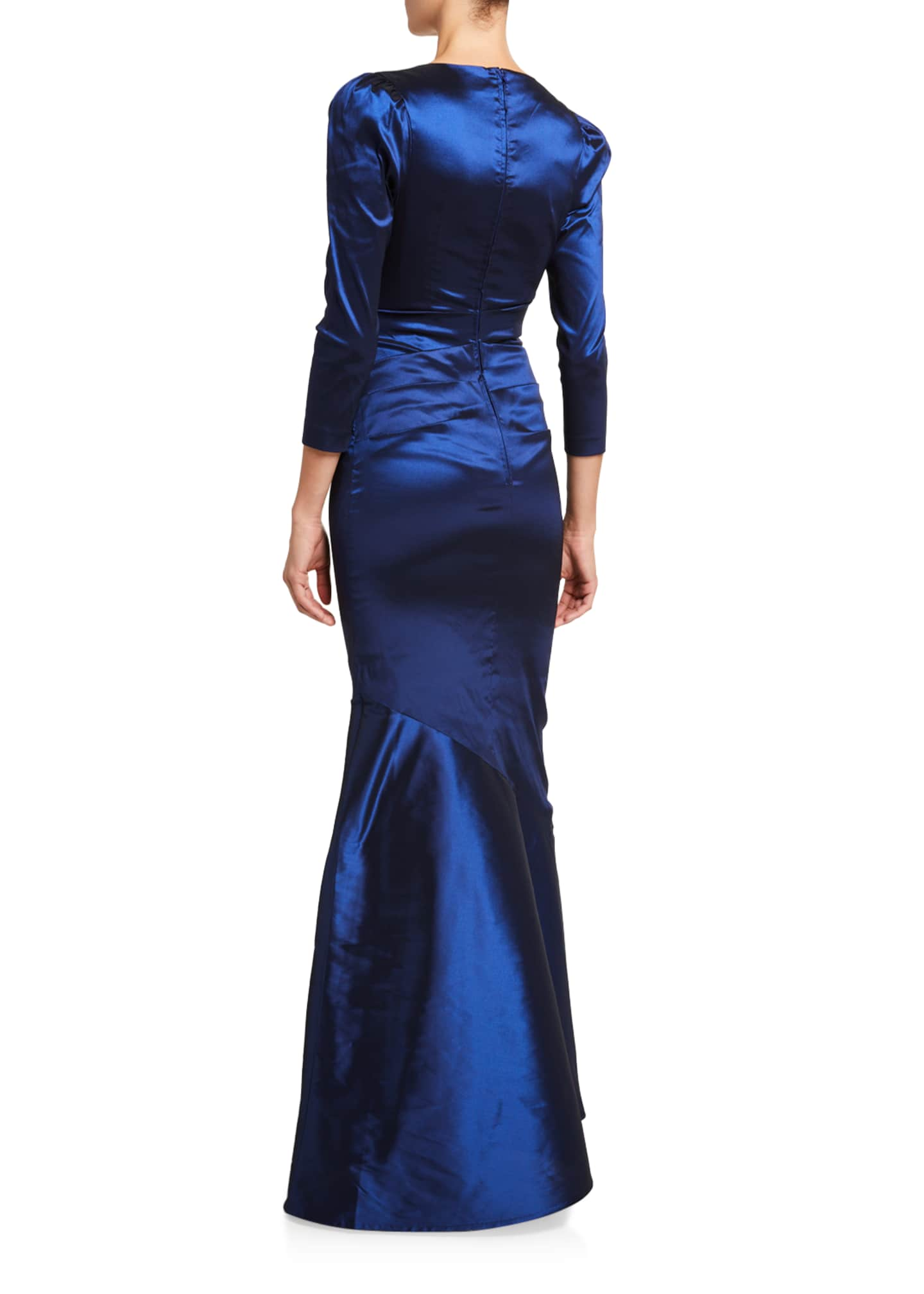 Image 2 of 2: V-Neck 3/4-Sleeve Taffeta Trumpet Gown