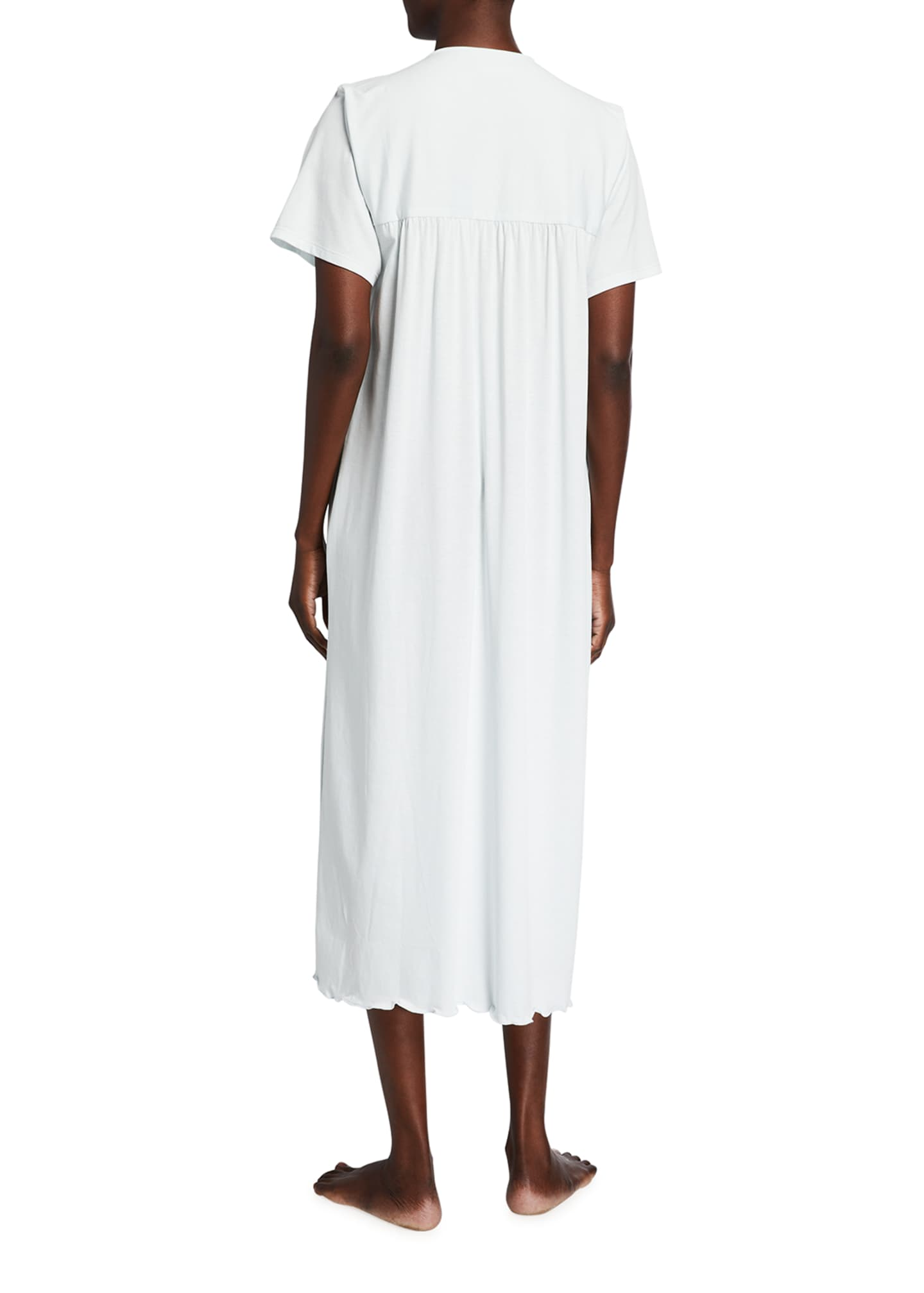 Image 2 of 2: Eloise Short-Sleeve Pima Cotton Jersey Nightgown