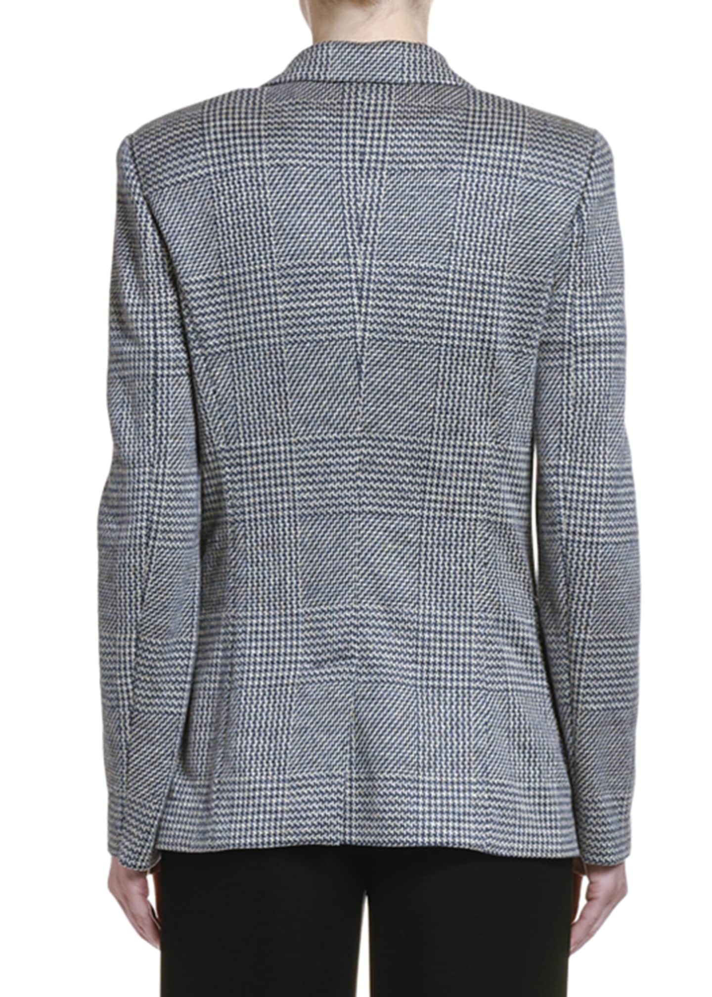 Image 2 of 2: Checked Linen One-Button Blazer Jacket
