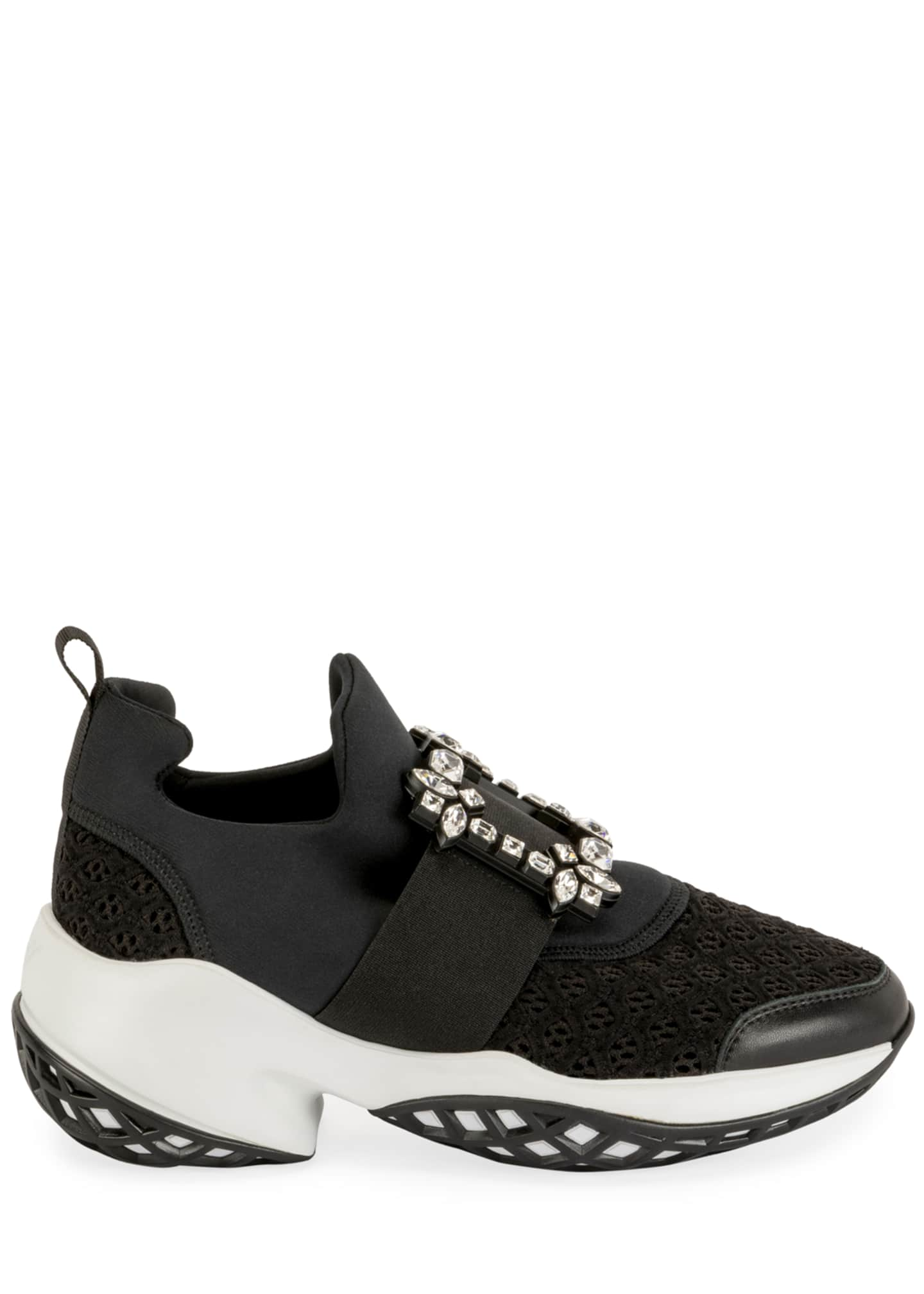 Image 2 of 4: Viv' Run Stretch Crystal Buckle Sneakers
