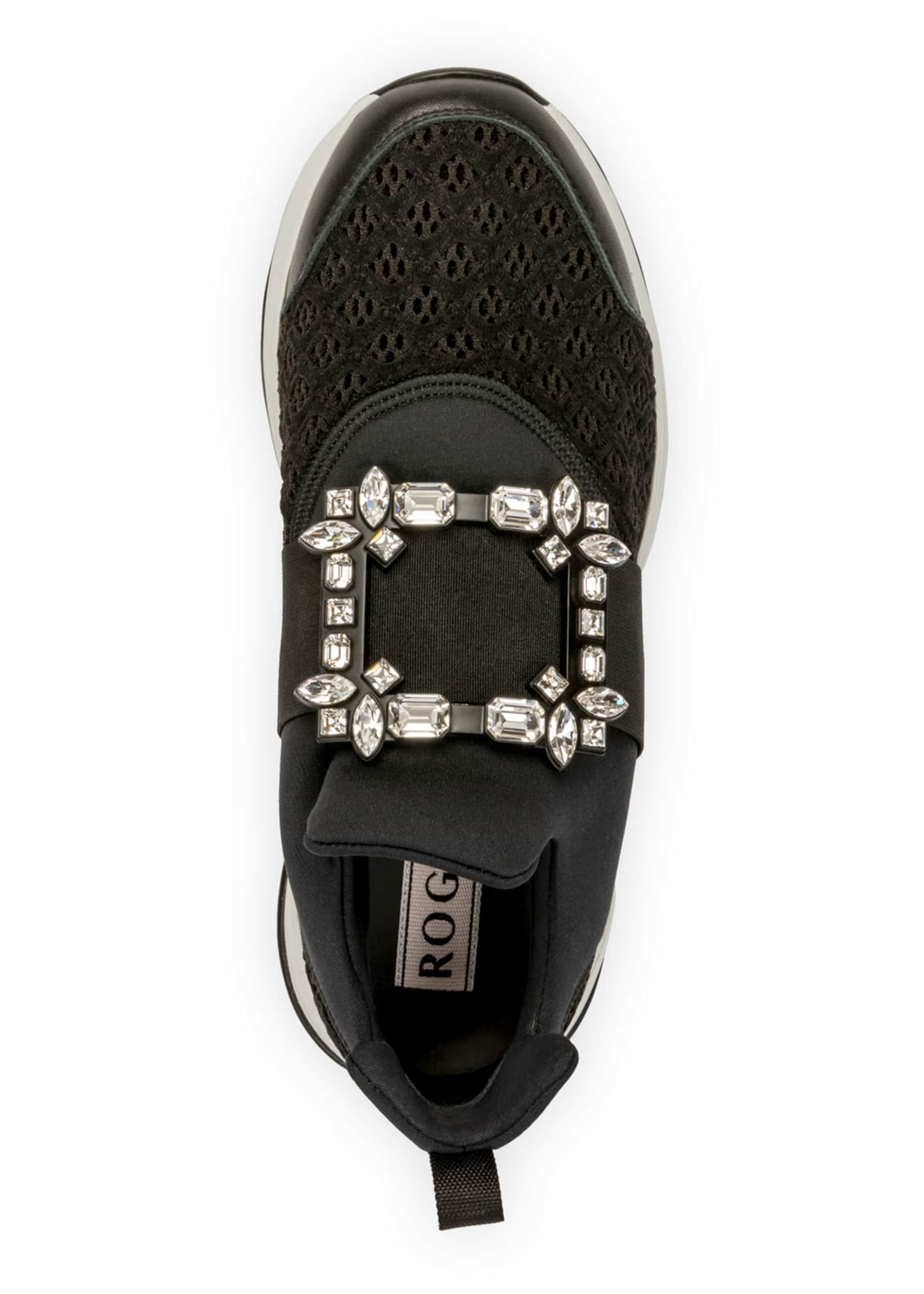Image 4 of 4: Viv' Run Stretch Crystal Buckle Sneakers