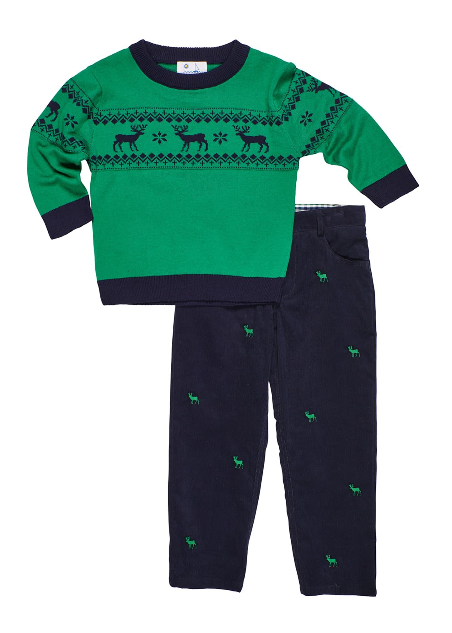 Florence Eiseman Boy's Reindeer Knit Sweater w/ Matching