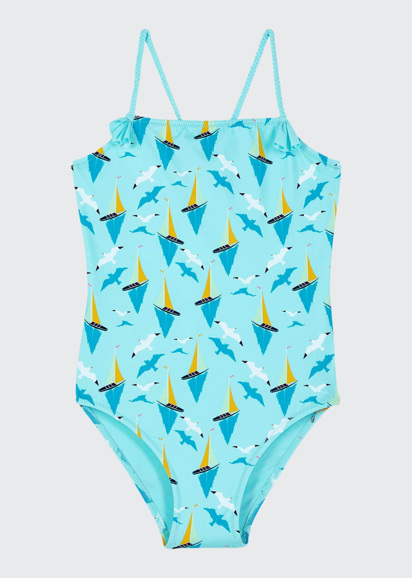 Image 1 of 2: Girl's Gom Sailboat Print One-Piece Swimsuit, Size 2-14