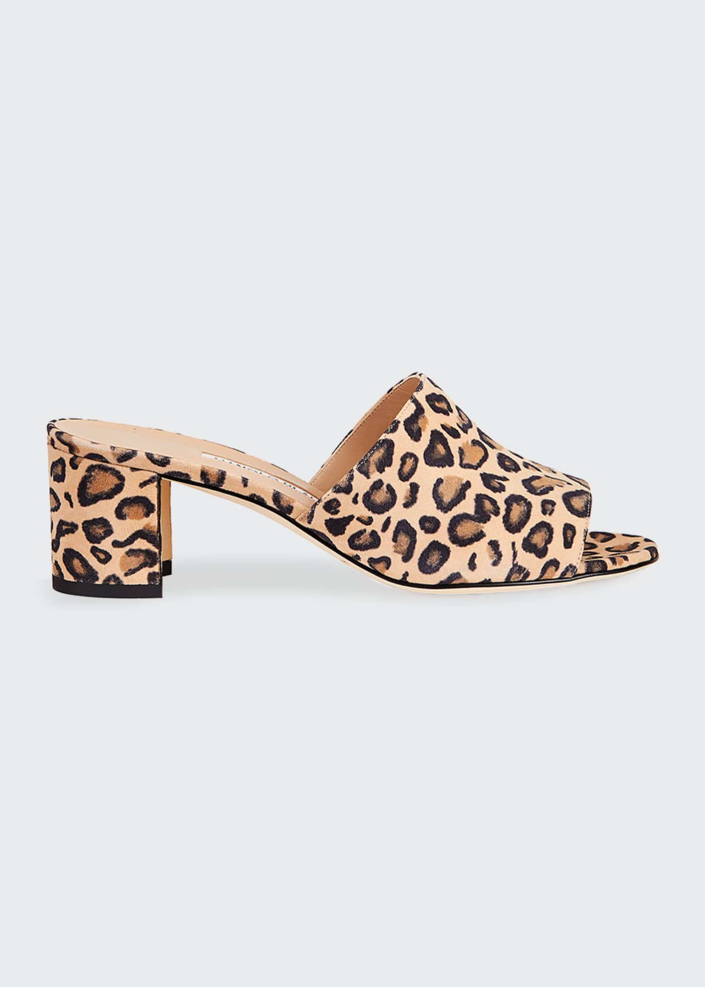 Image 1 of 3: Rapallato Leopard-Print Suede Slide Sandals