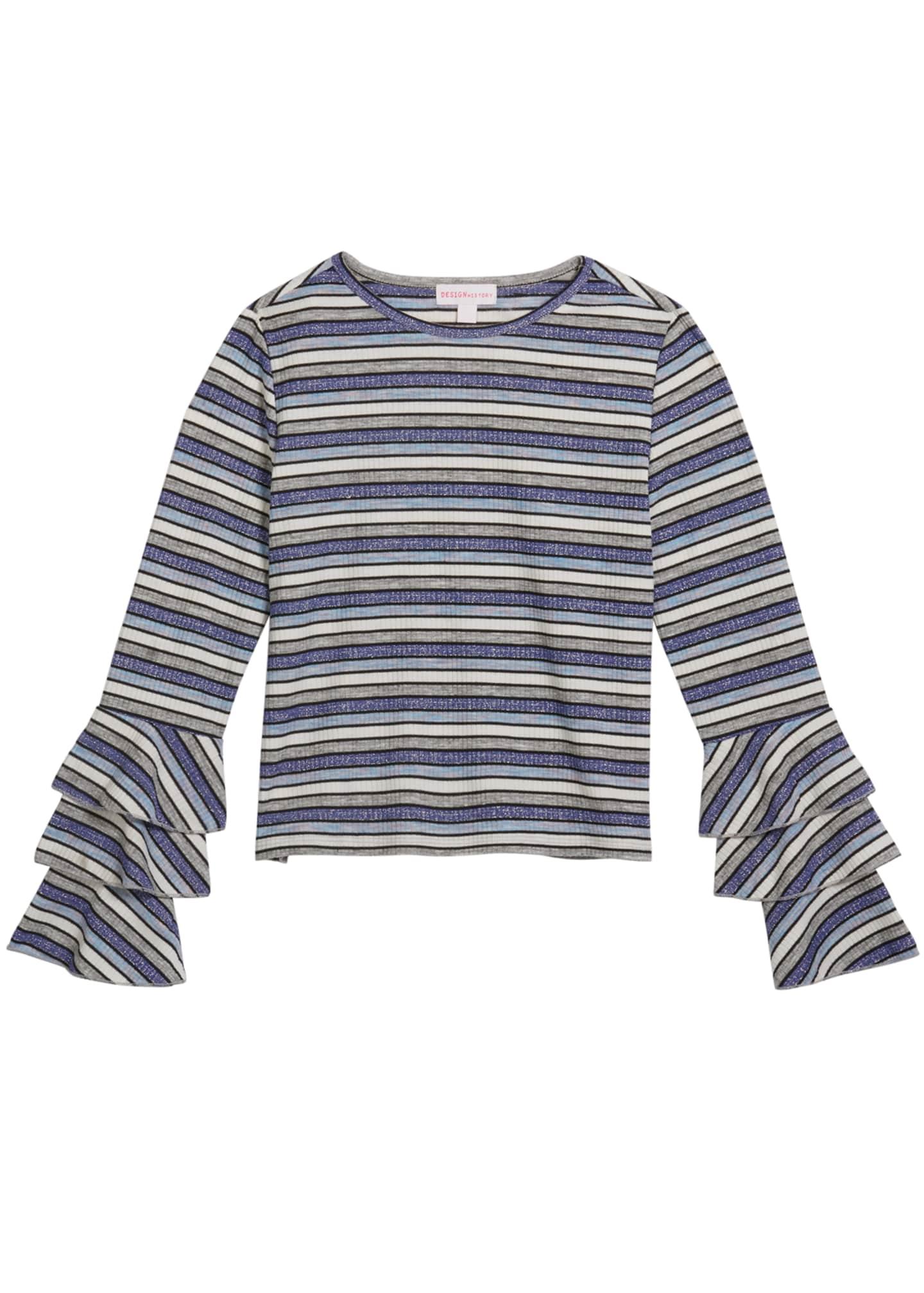 Design History Girls Girl's Multi Stripe Metallic Top,