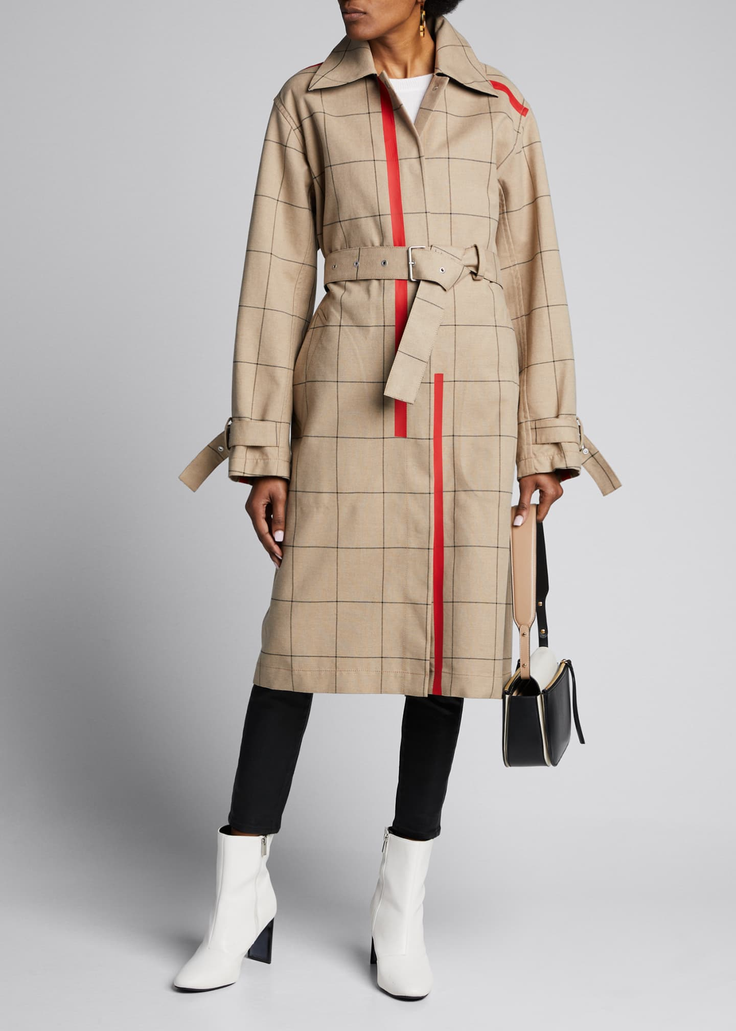 3.1 Phillip Lim Windowpane Trench Coat with Side