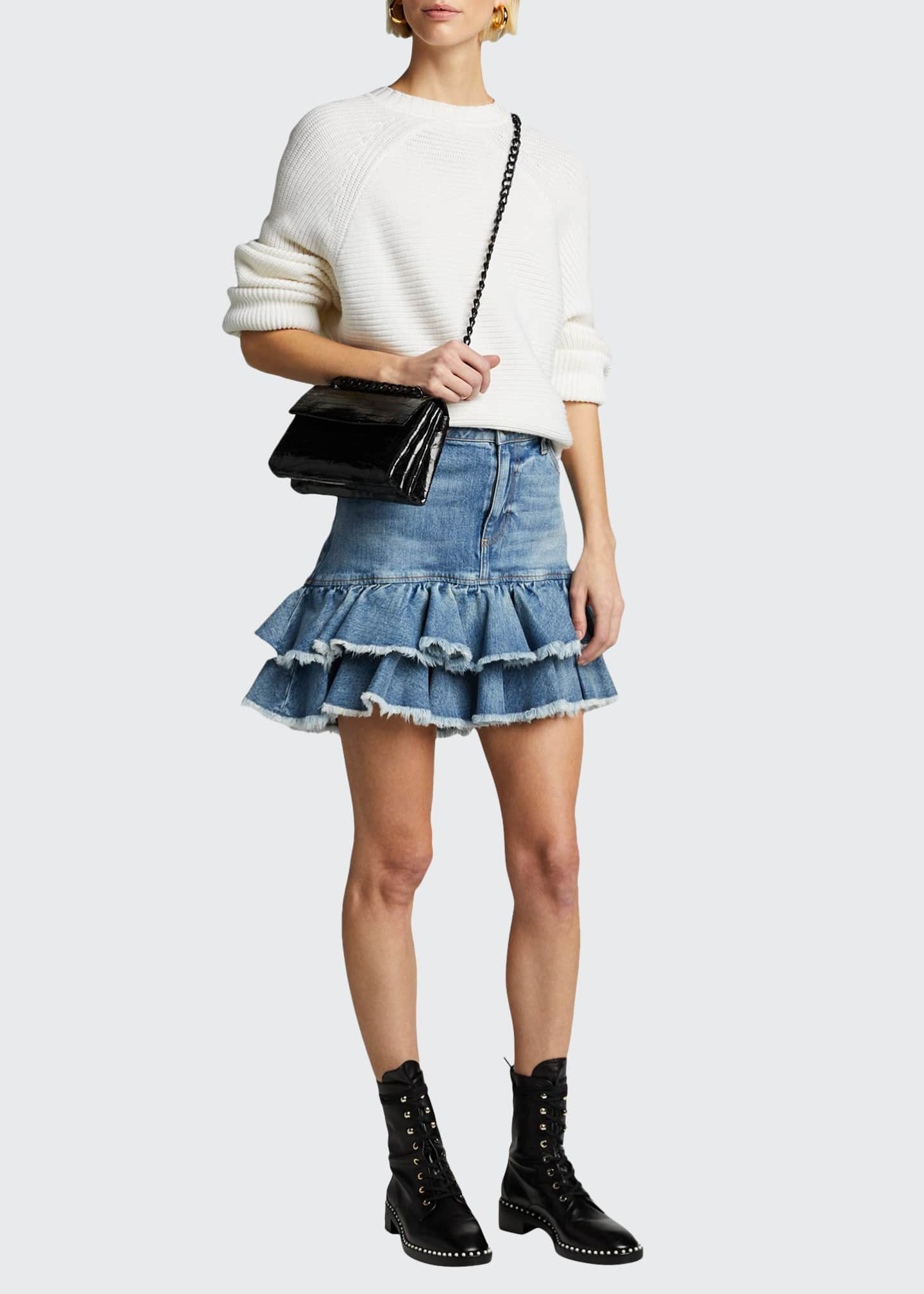 ALICE + OLIVIA JEANS Good High-Rise Ruffle-Hem Skirt