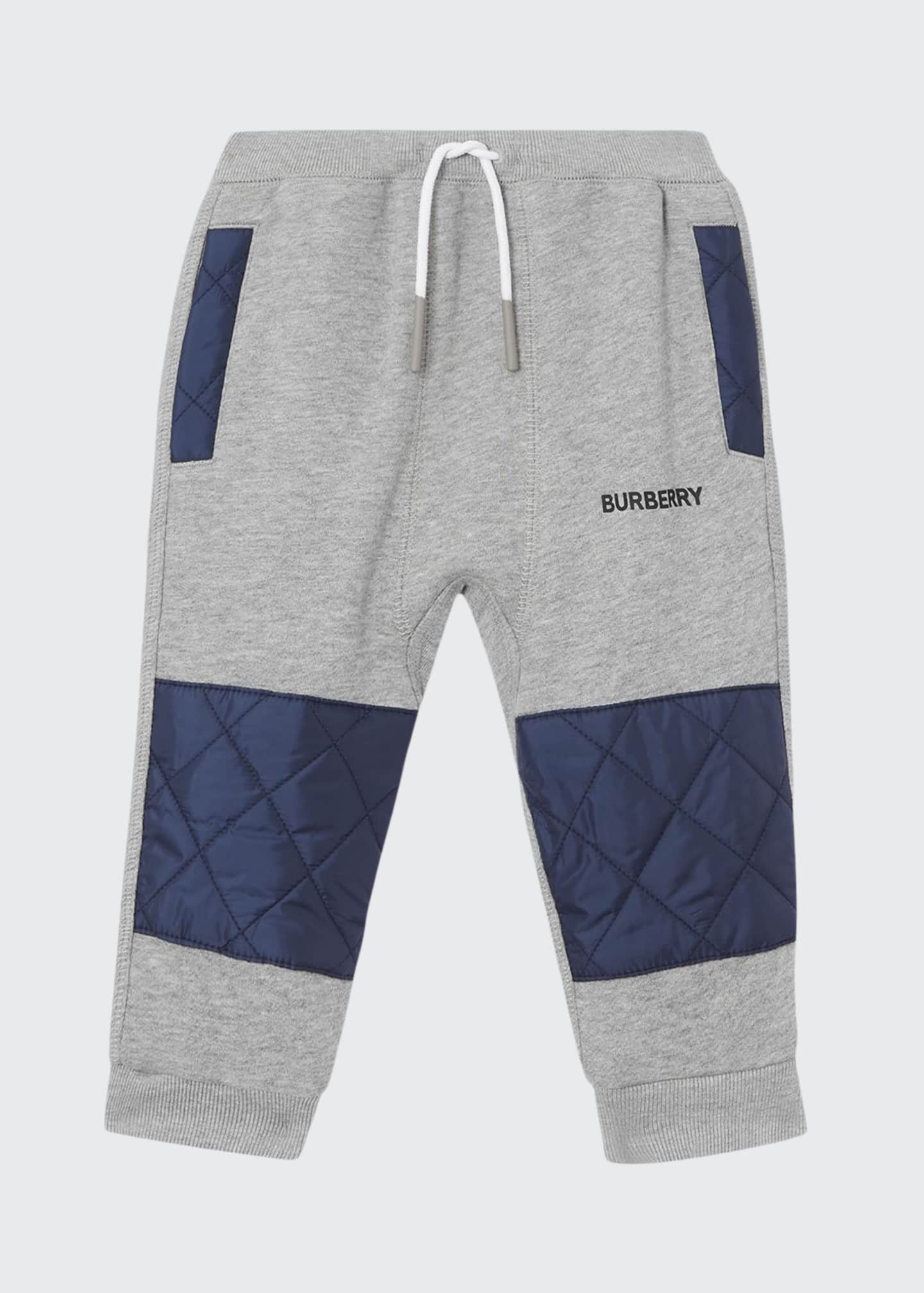 Burberry Boy's Mio Drawstring Sweatpants w/ Quilted Insets,
