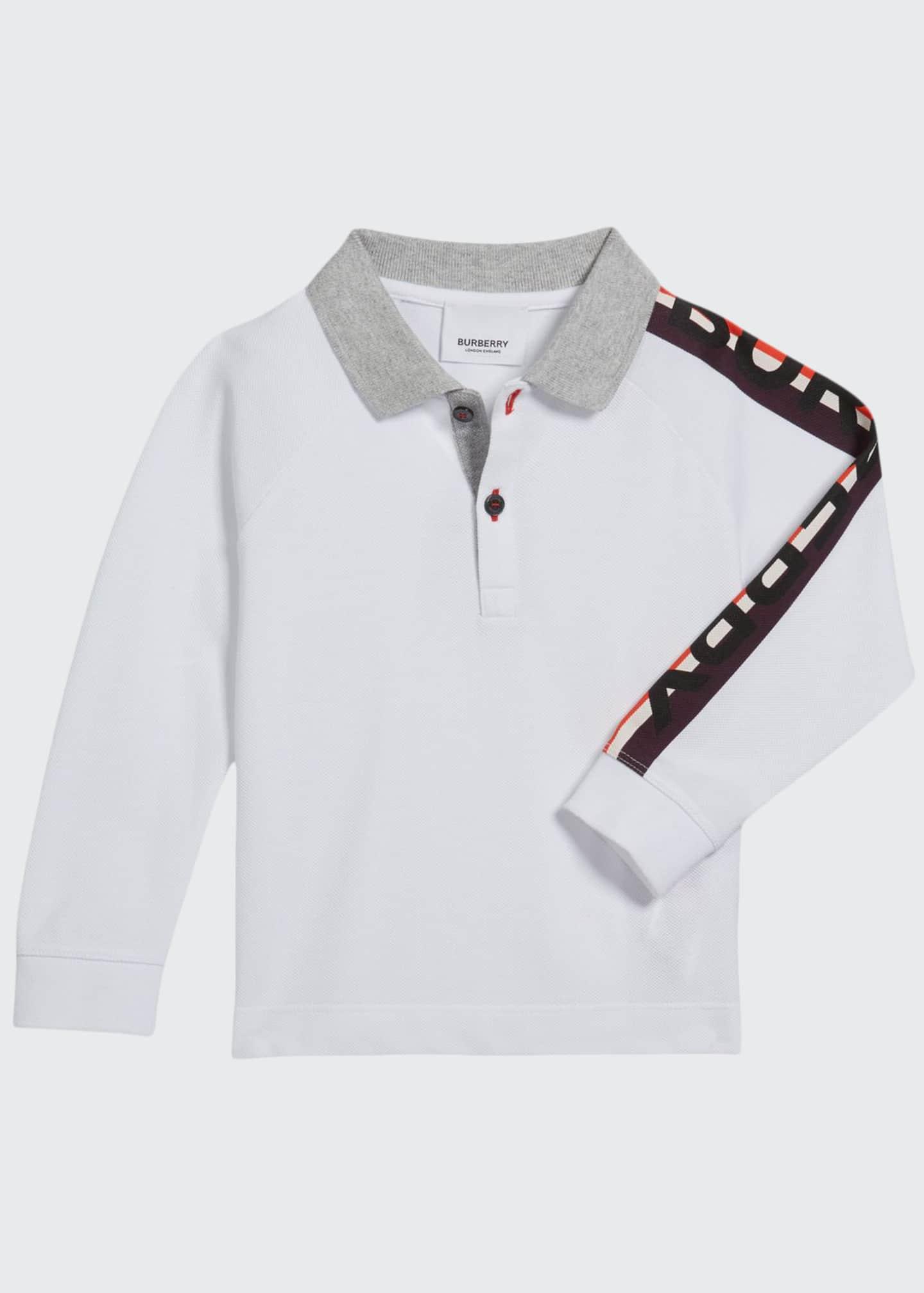 Burberry Boy's Duncan Polo Shirt w/ Logo Down