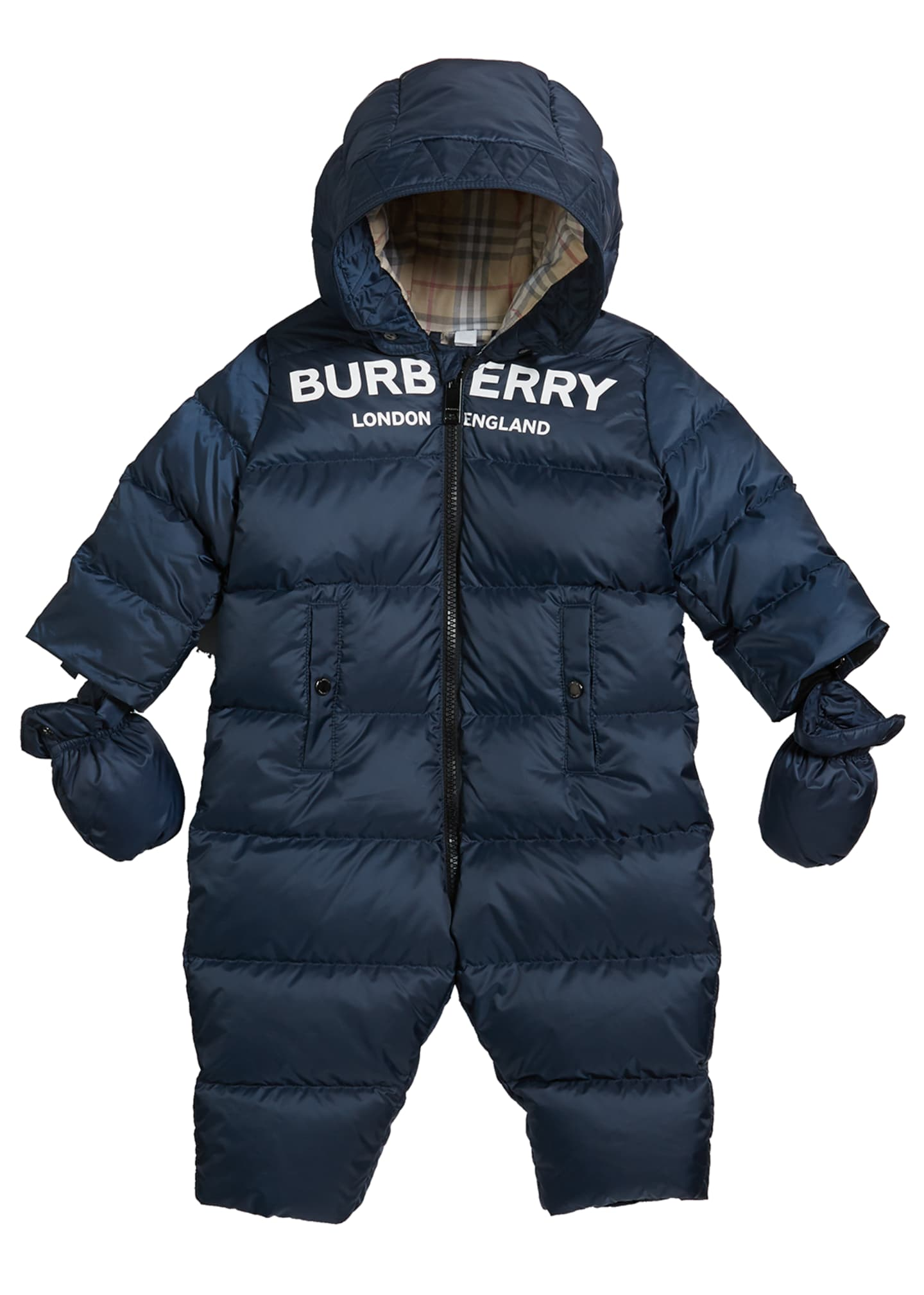 Burberry Kid's Skylar Quilted Logo Snowsuit, Size 6-18