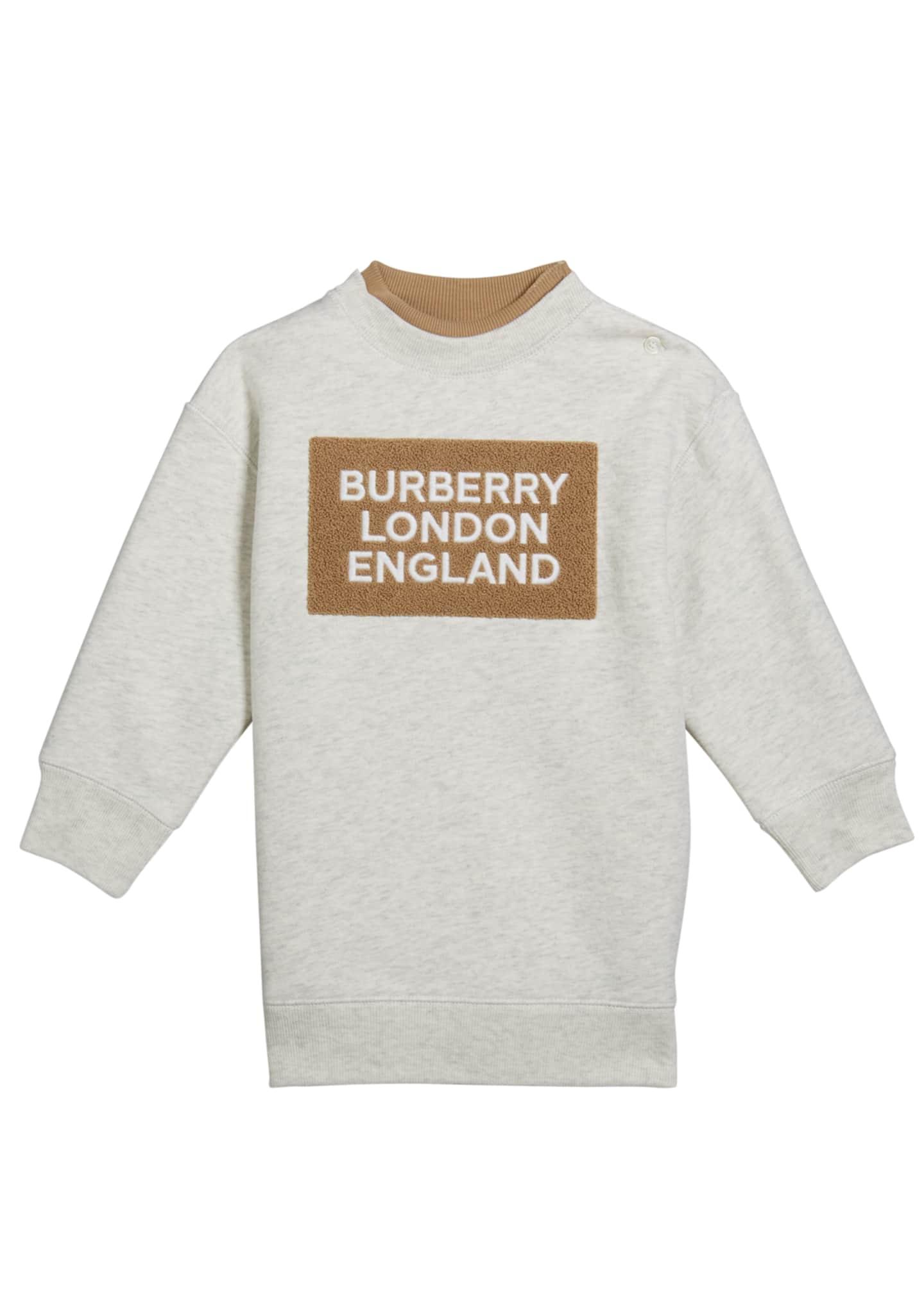 Burberry Girl's Fabbio Sweatshirt Dress w/ Logo Patches,