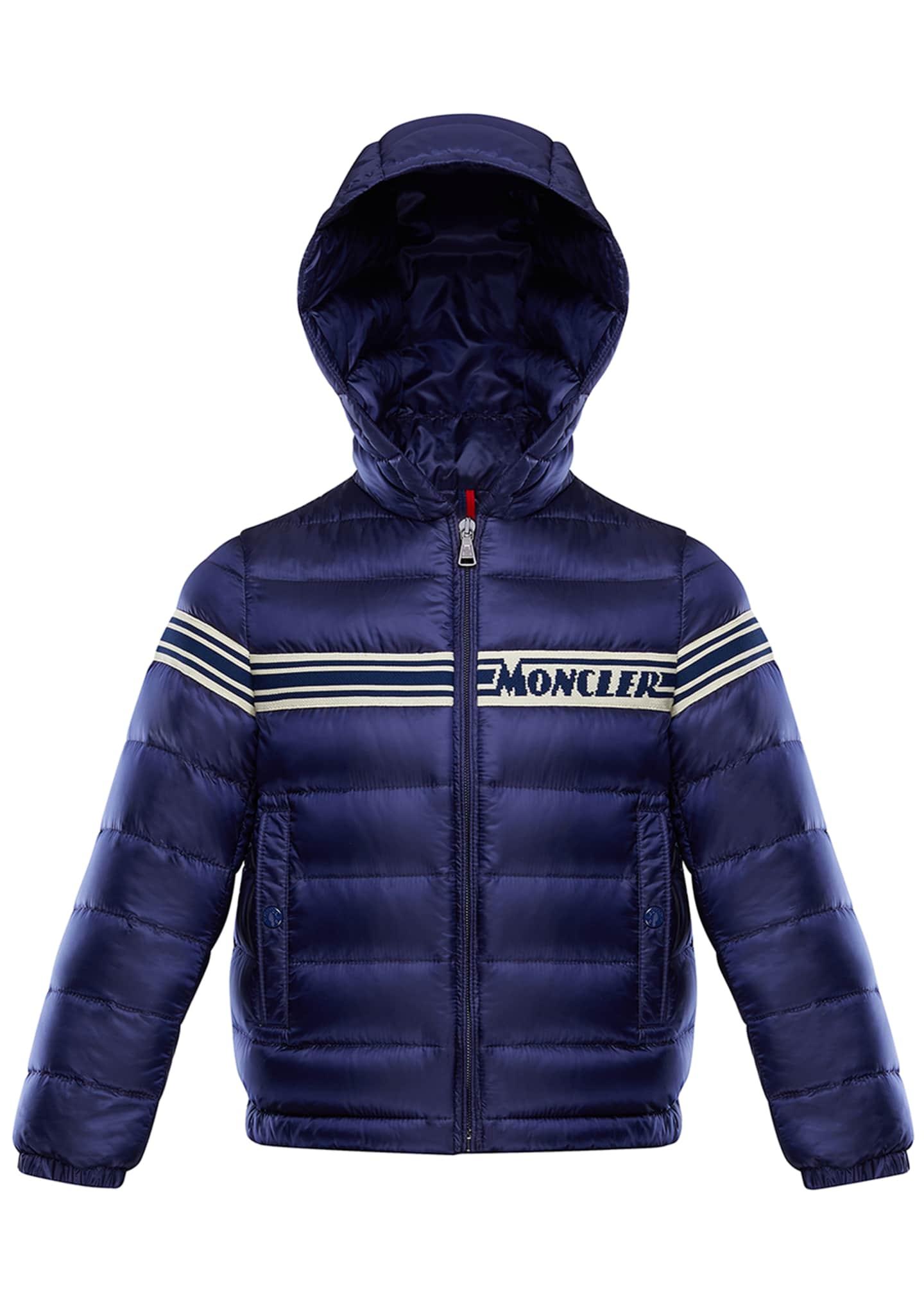 Moncler Boy's Renald Logo Tape Bomber Jacket, Size