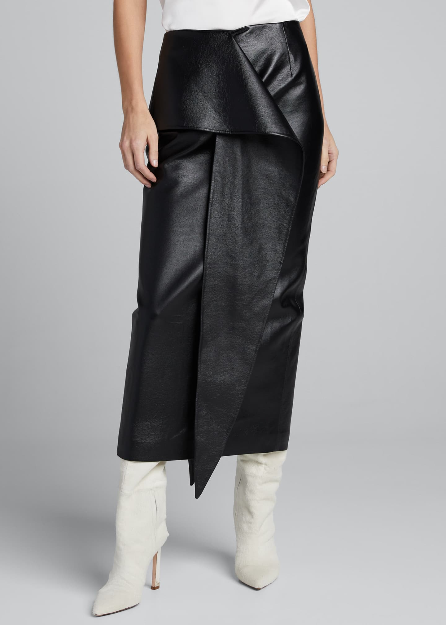 Image 3 of 5: Tie-Waist Faux-Leather Skirt