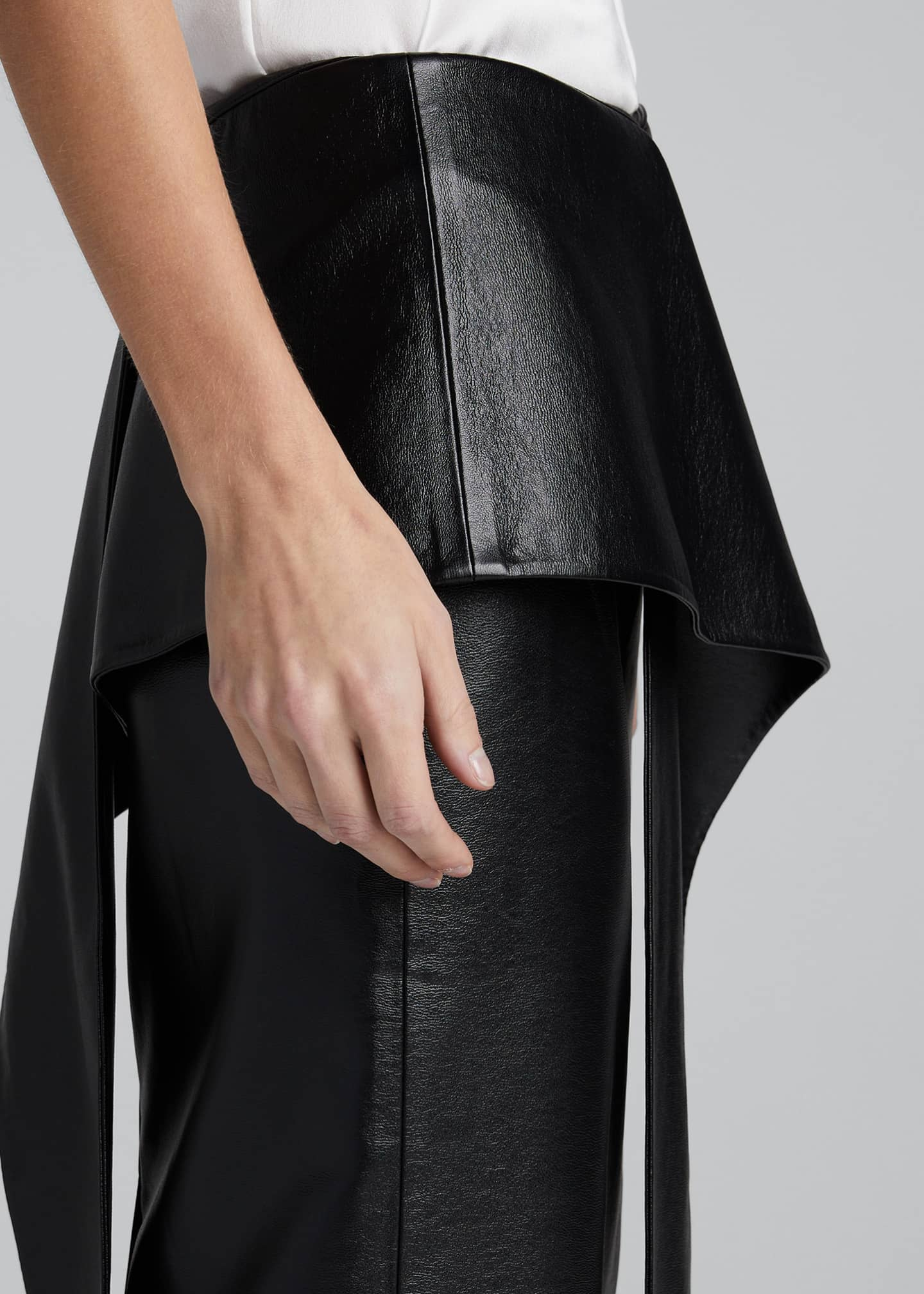 Image 4 of 5: Tie-Waist Faux-Leather Skirt