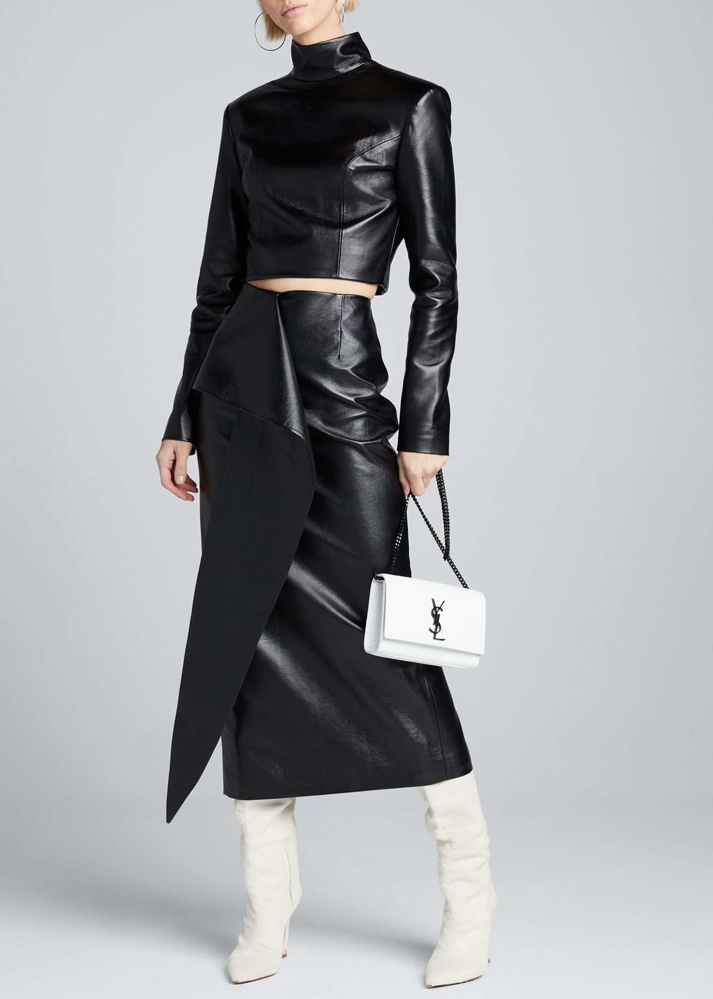 Image 1 of 5: Tie-Waist Faux-Leather Skirt