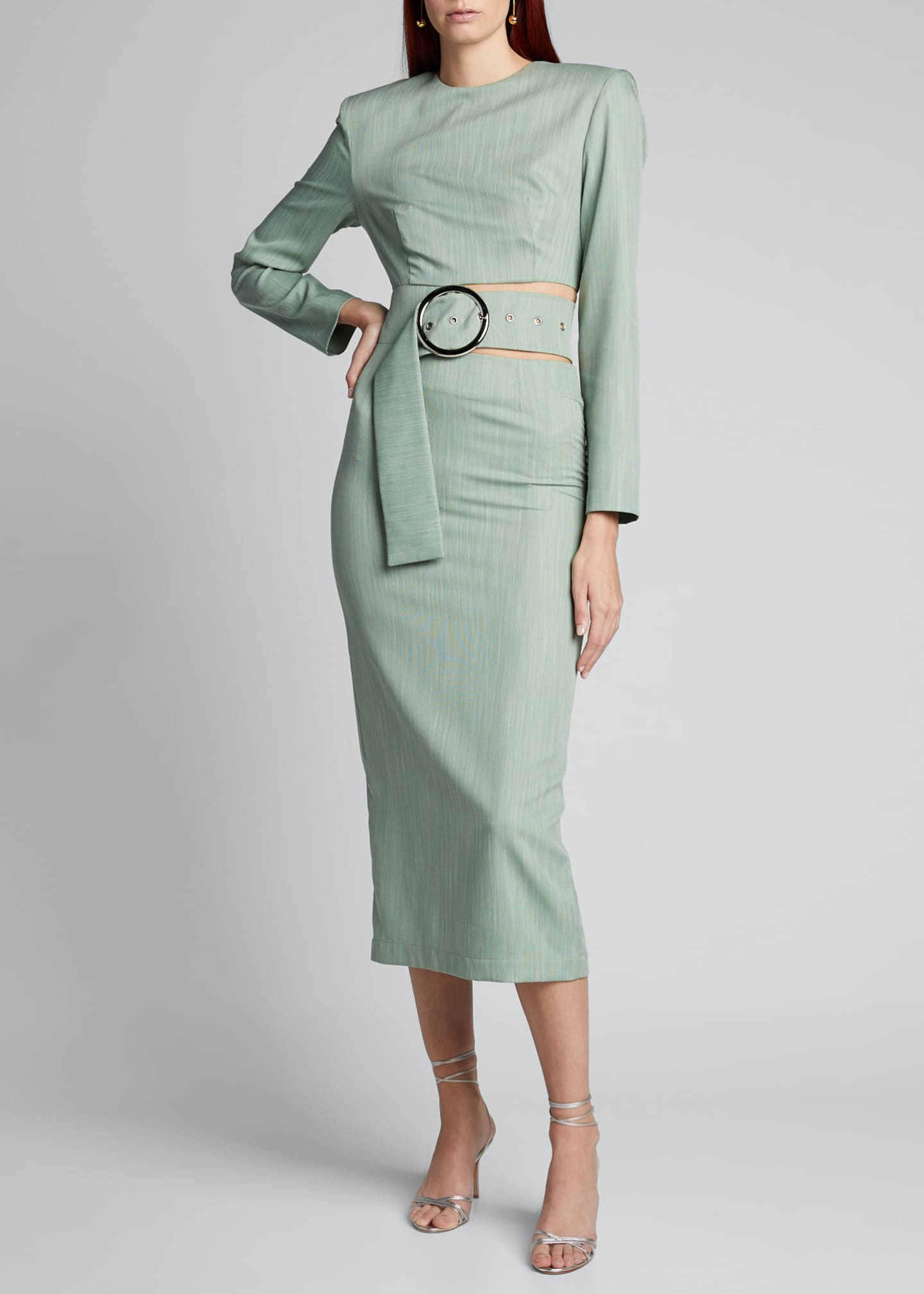 Image 3 of 5: Belted Cutout Strong-Shoulder Midi Dress