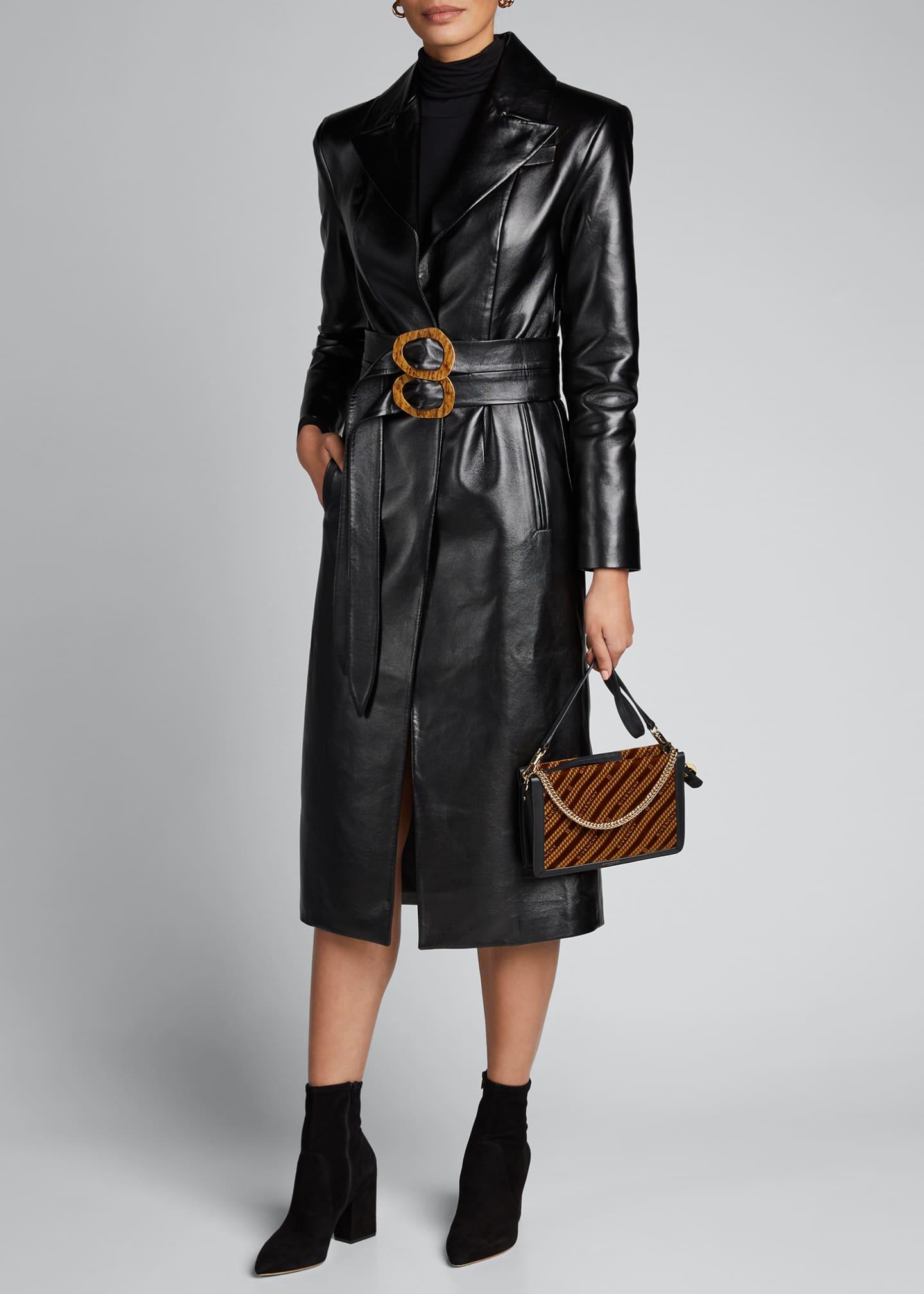 Materiel Faux-Leather Coat with Double Belt