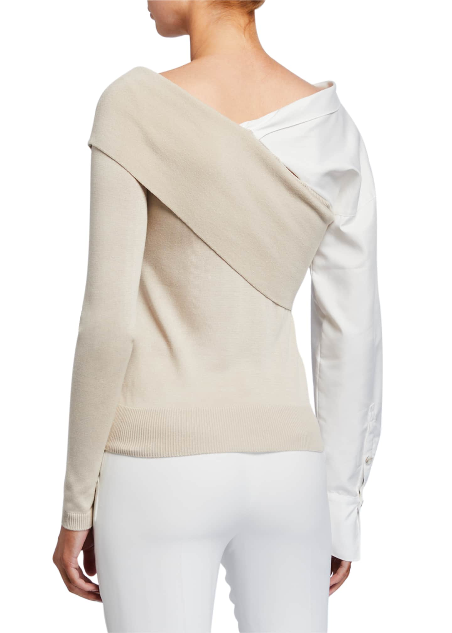 Image 2 of 2: Two-Way Knit Poplin-Sleeve Sweater