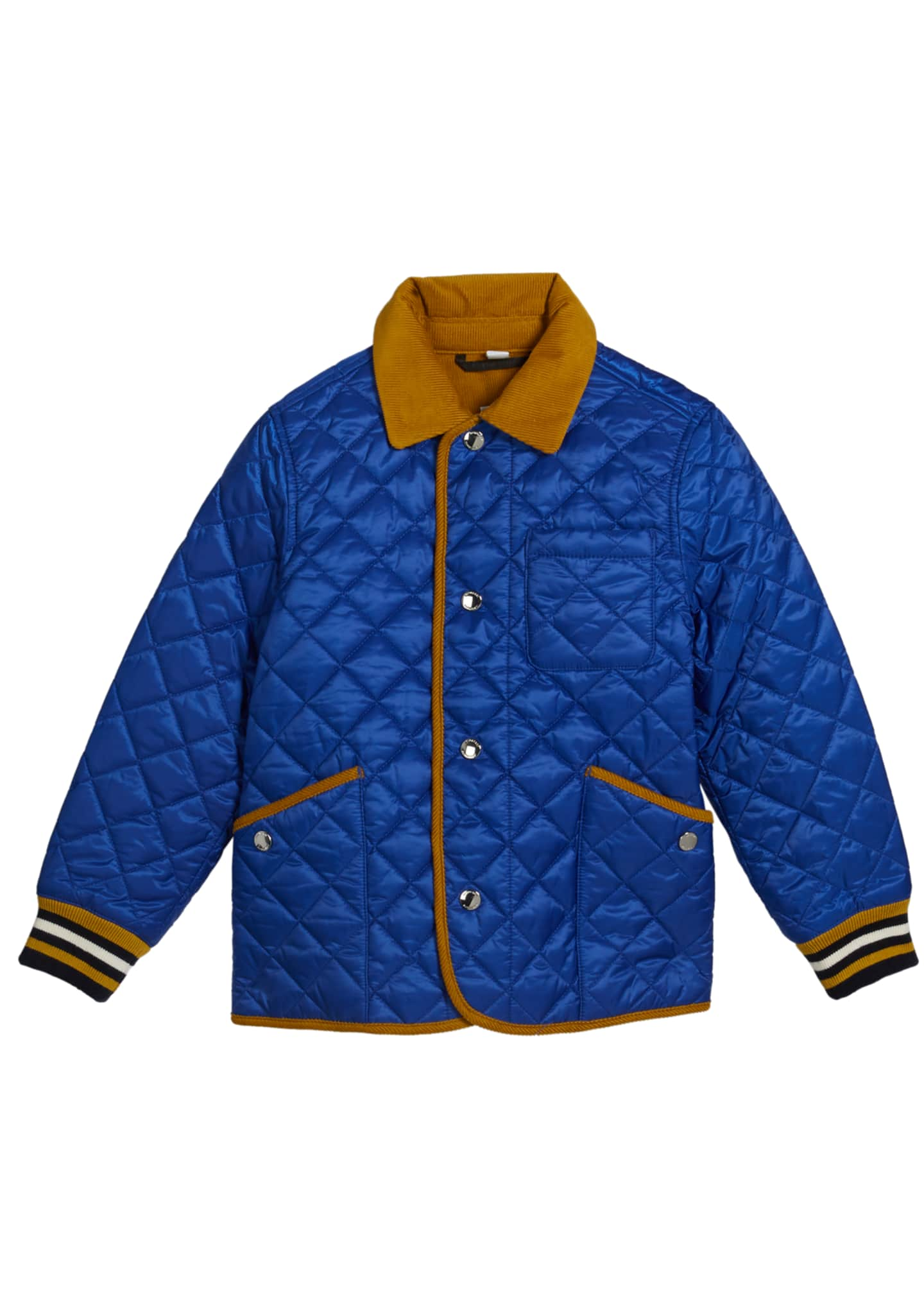 Burberry Boy's Cluford Quilted Jacket w/ Corduroy Trim,