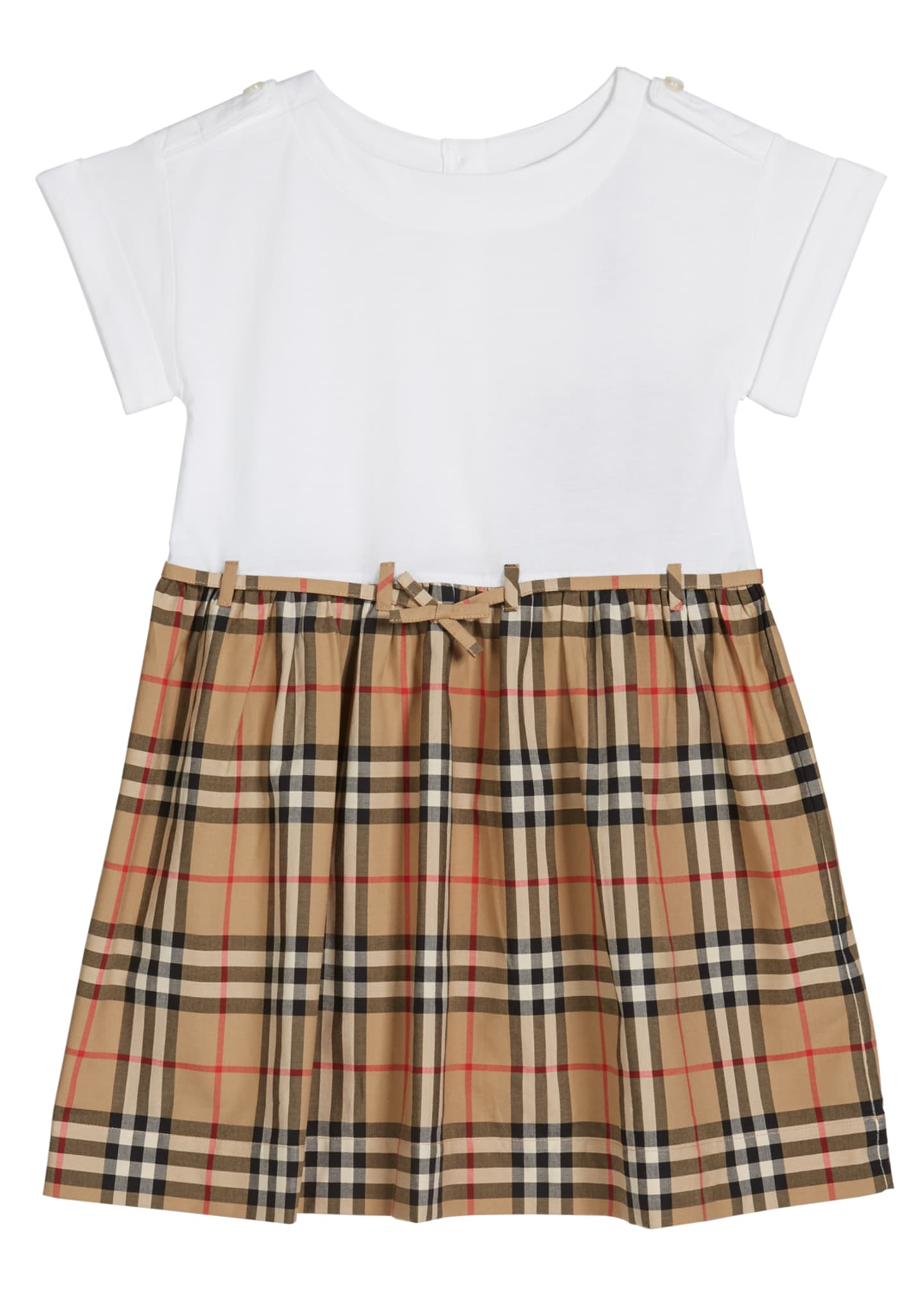 Burberry Girl's Rhonda Jersey & Check Poplin Dress,