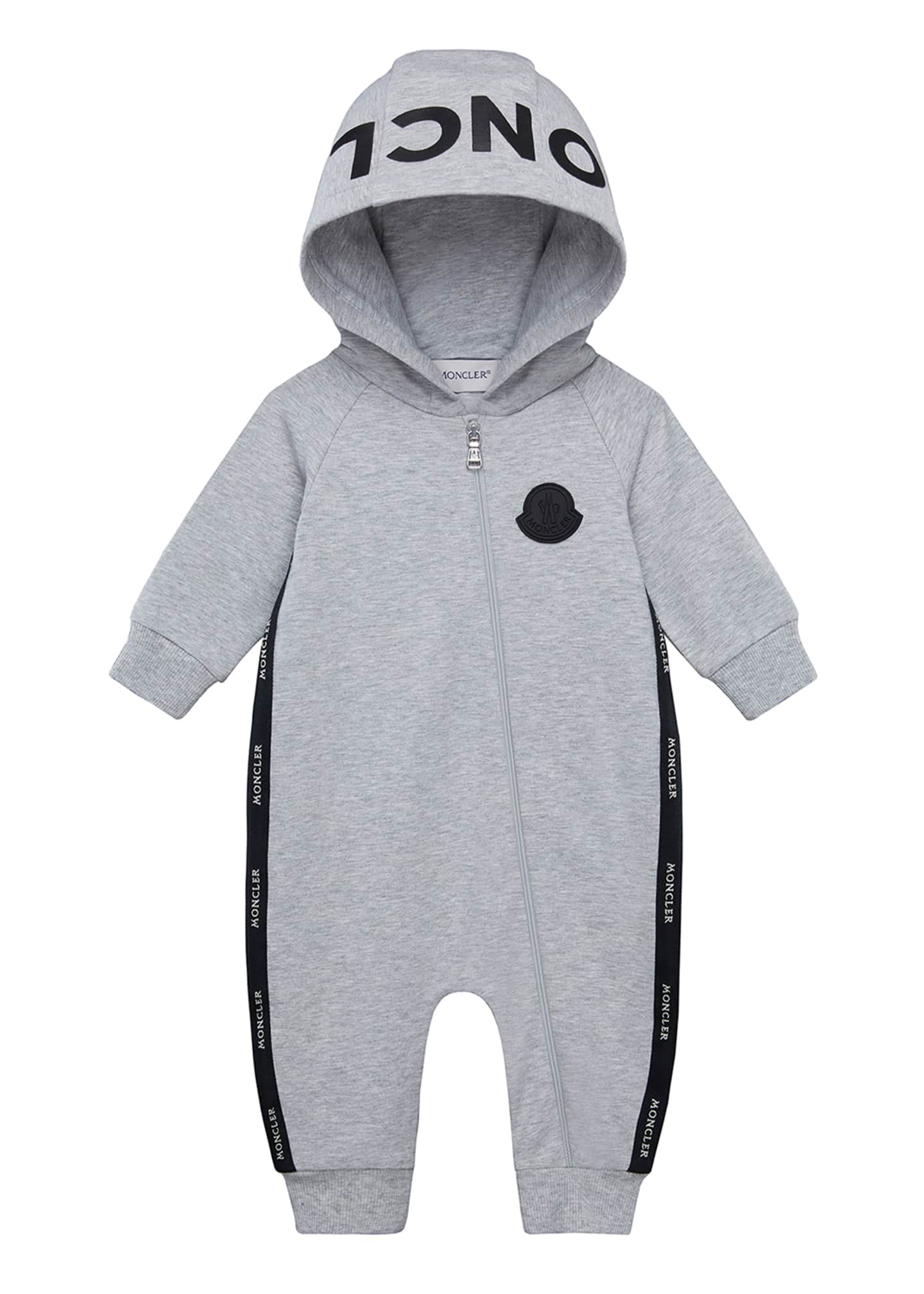 Image 1 of 2: Boy's Logo Hooded Coverall, Size 3-18 Months