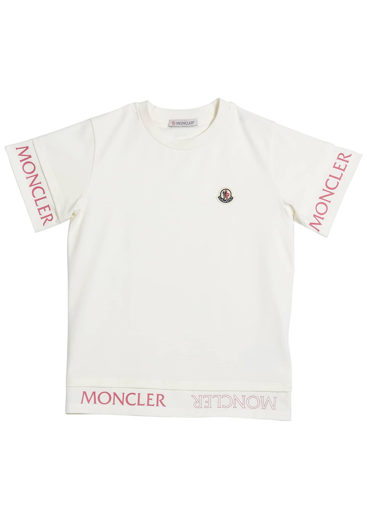 Moncler Girl's Logo Trim Short-Sleeve T-Shirt, Size 8-14