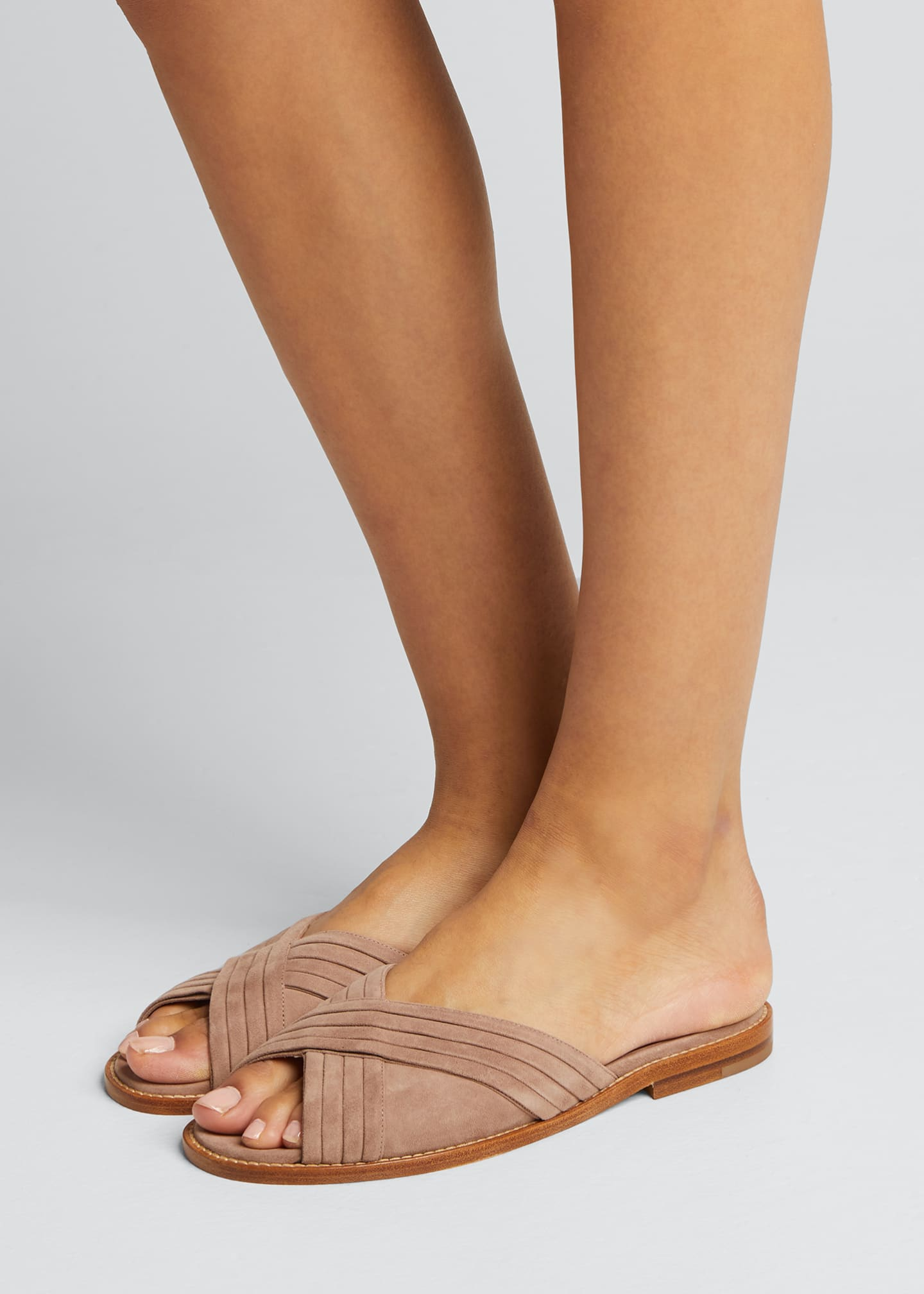 Image 2 of 5: Pingar Suede Crisscross Slide Sandals