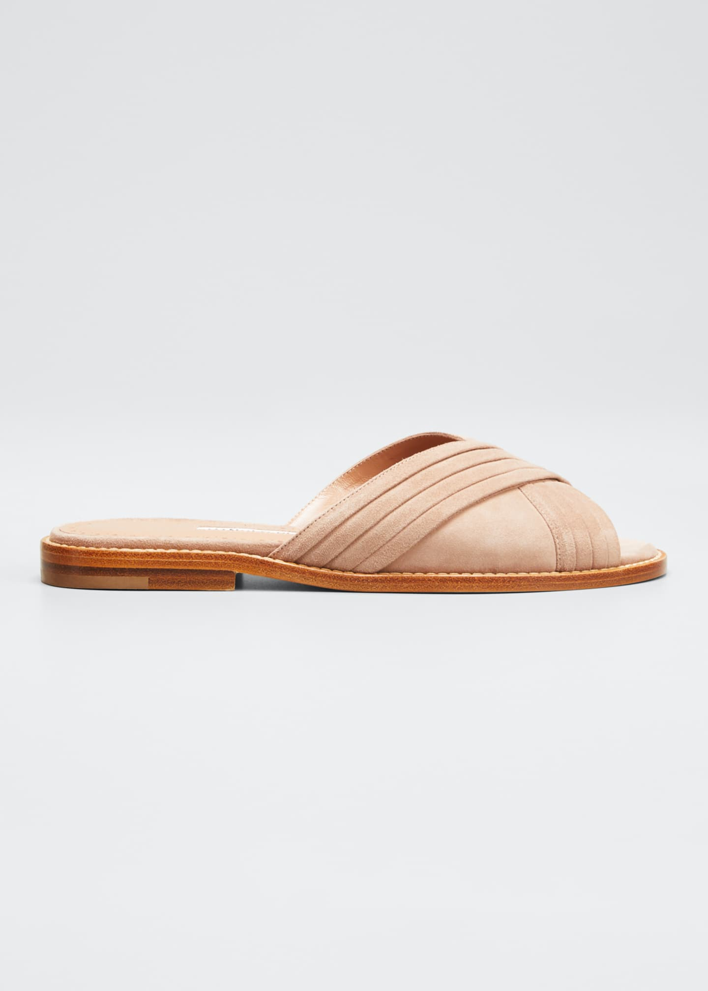 Image 1 of 5: Pingar Suede Crisscross Slide Sandals