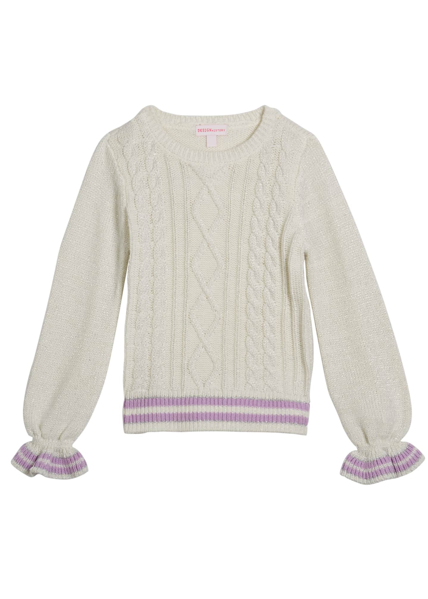 Design History Girls Girl's Lurex Cable Knit Sweater,
