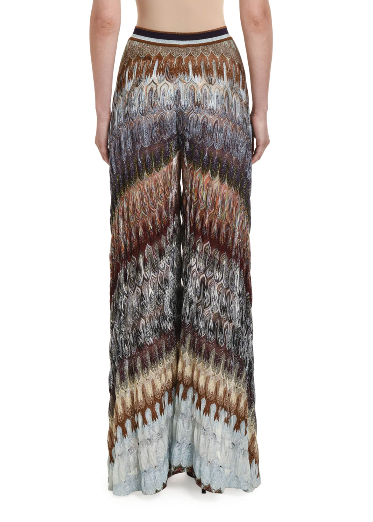 Image 2 of 3: Flamed Lame Wide-Leg Pants