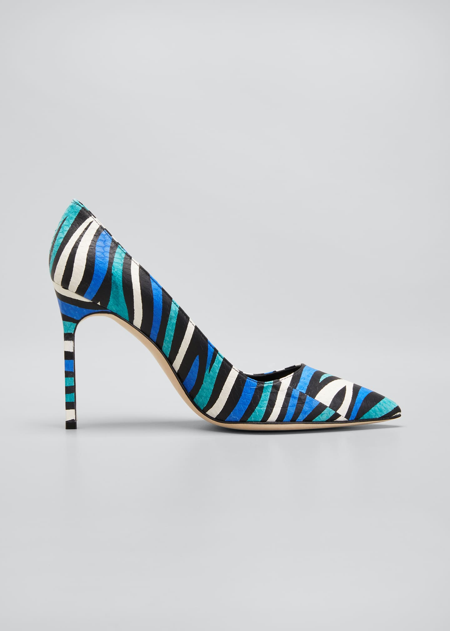 Image 1 of 5: BB 105mm Multicolored Snakeskin Pumps