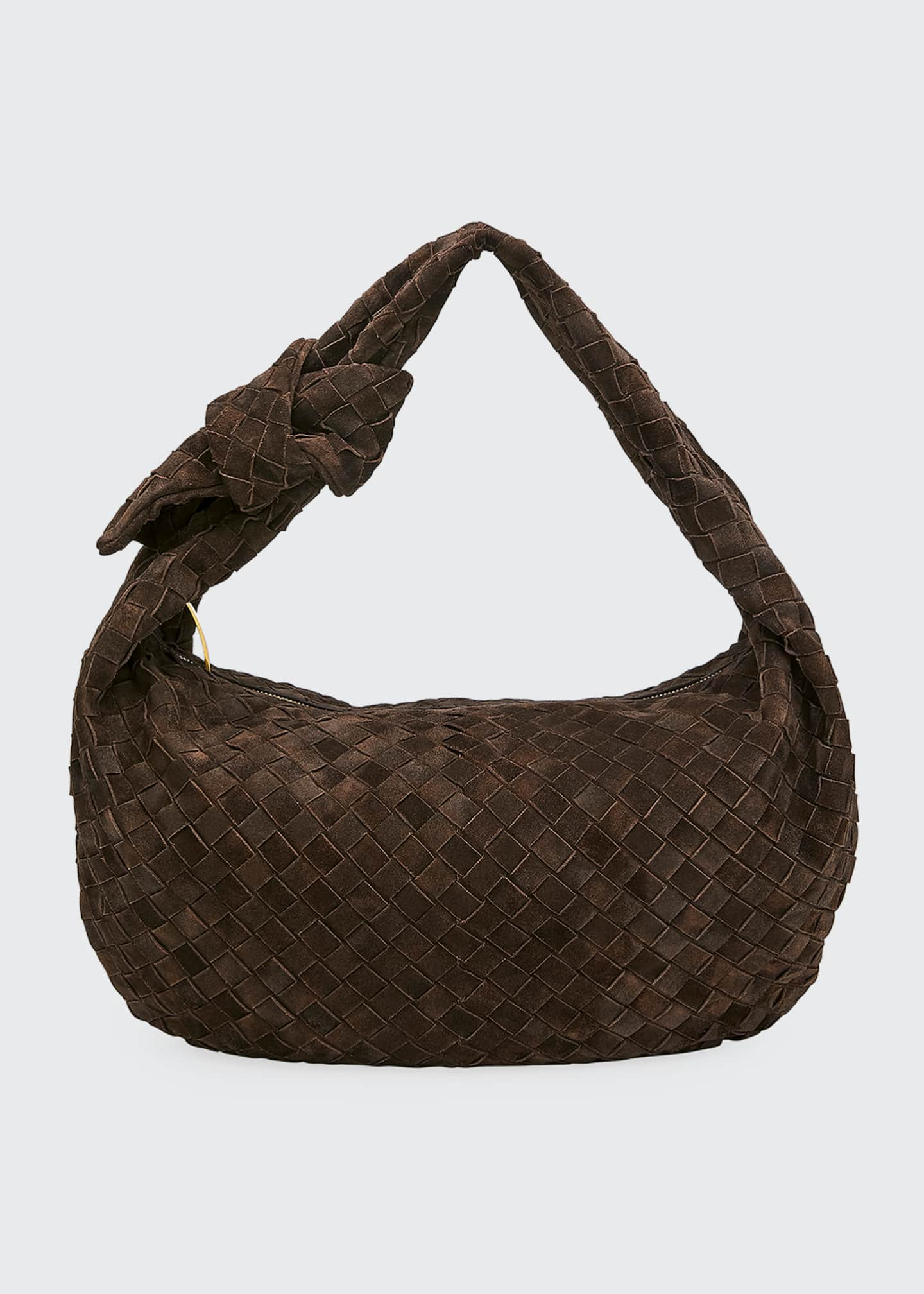 Bottega Veneta Small Intrecciato Cloudy Suede Hobo Bag