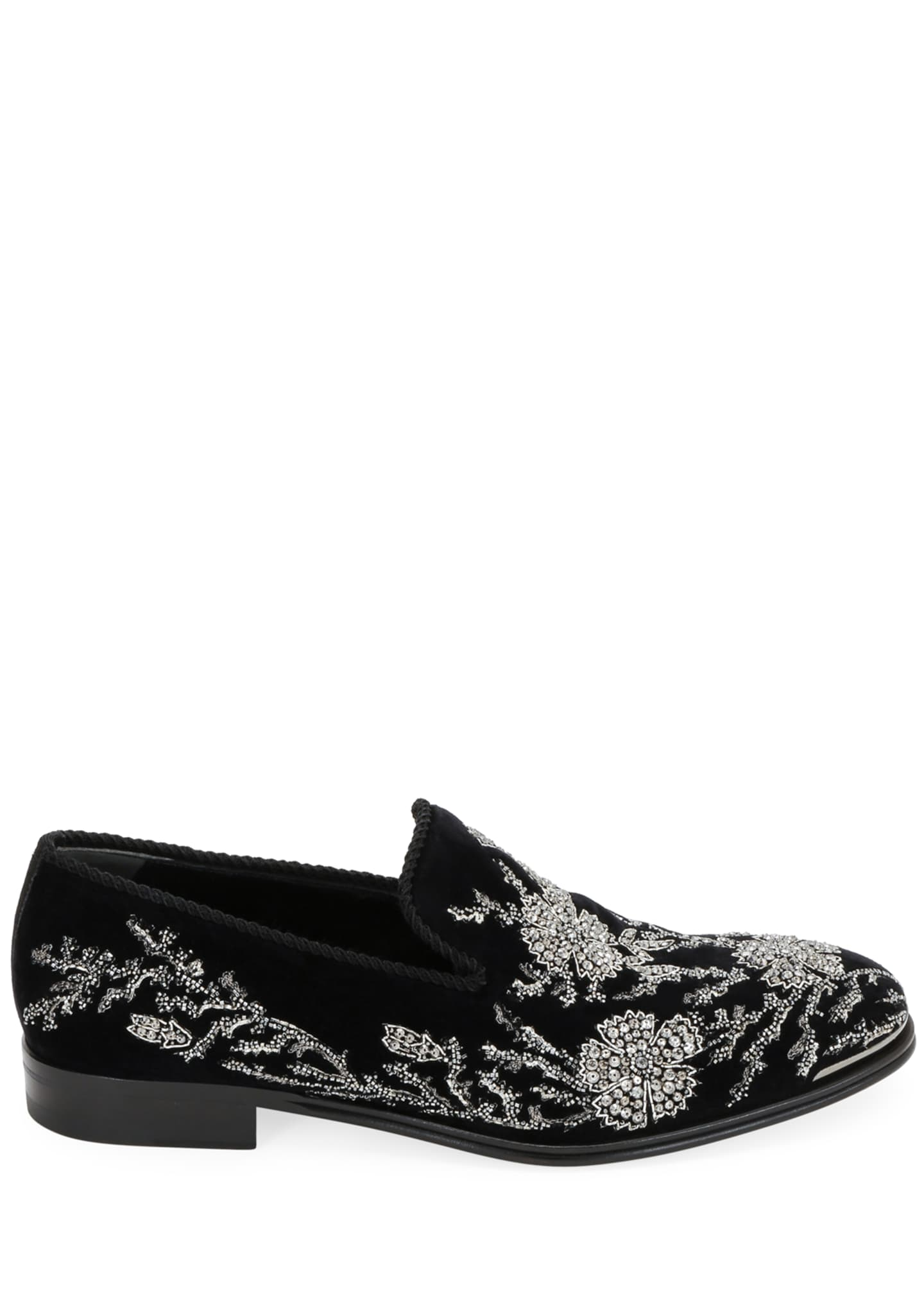 Image 2 of 4: Men's Embellished Velvet Formal Slip-Ons
