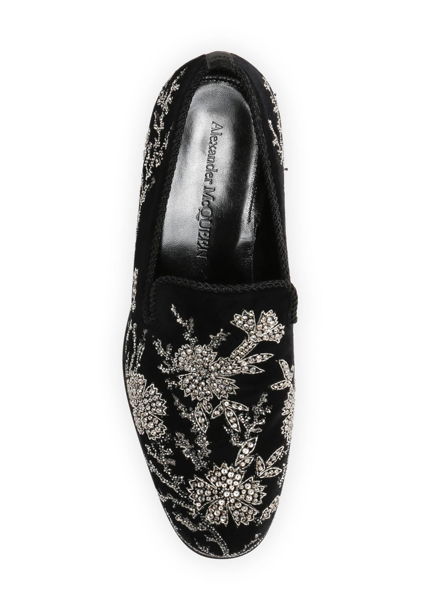Image 3 of 4: Men's Embellished Velvet Formal Slip-Ons