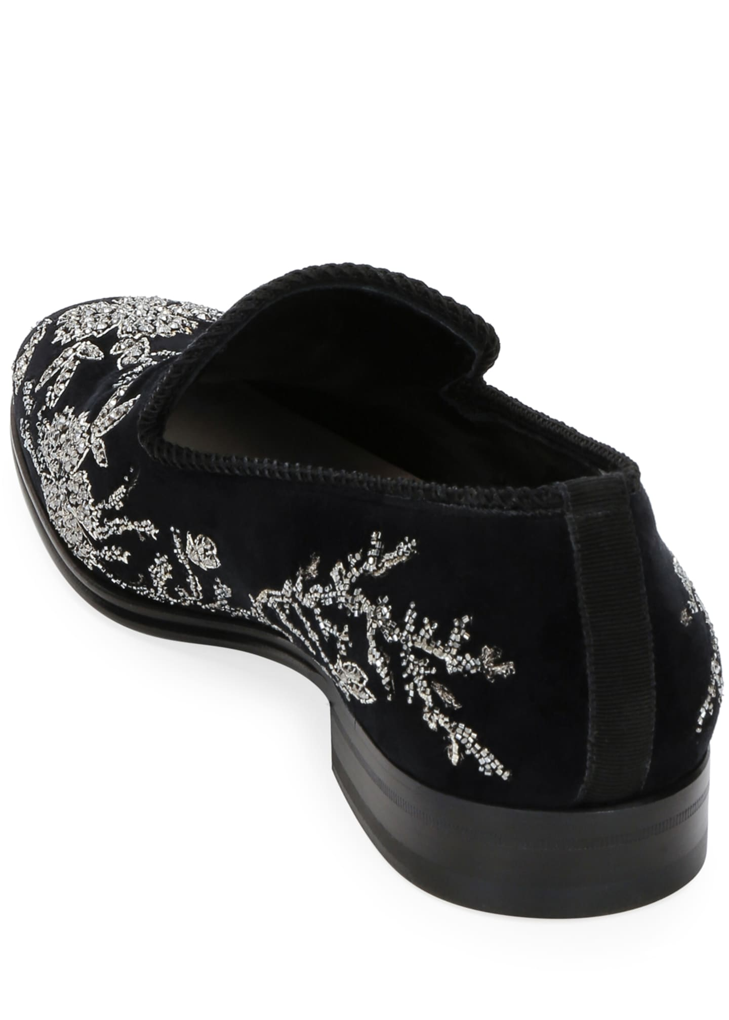 Image 4 of 4: Men's Embellished Velvet Formal Slip-Ons