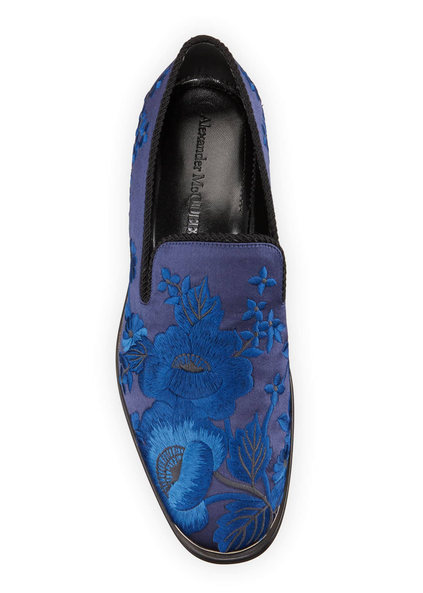 Image 2 of 4: Men's Embroidered Satin Formal Slip-On Loafers