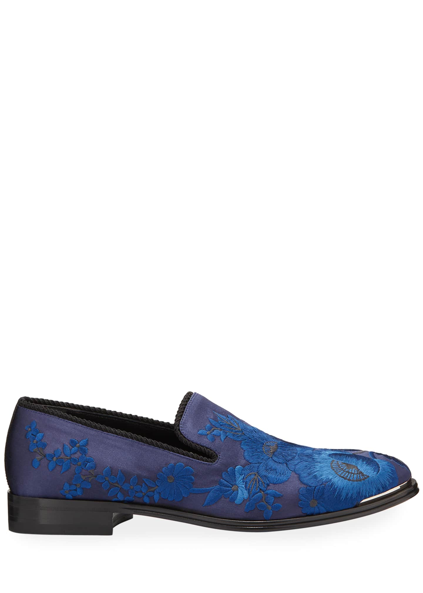 Image 3 of 4: Men's Embroidered Satin Formal Slip-On Loafers