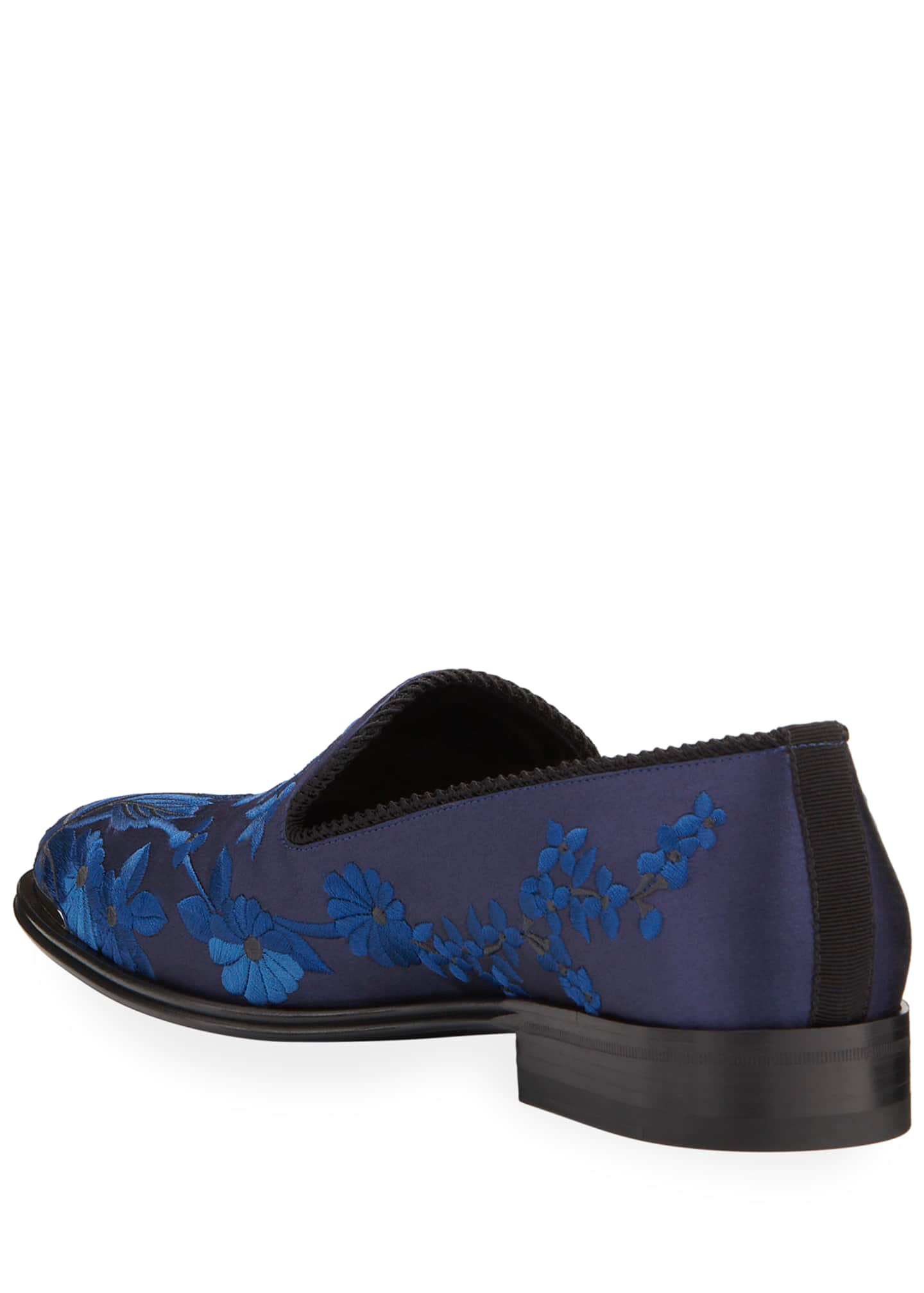 Image 4 of 4: Men's Embroidered Satin Formal Slip-On Loafers