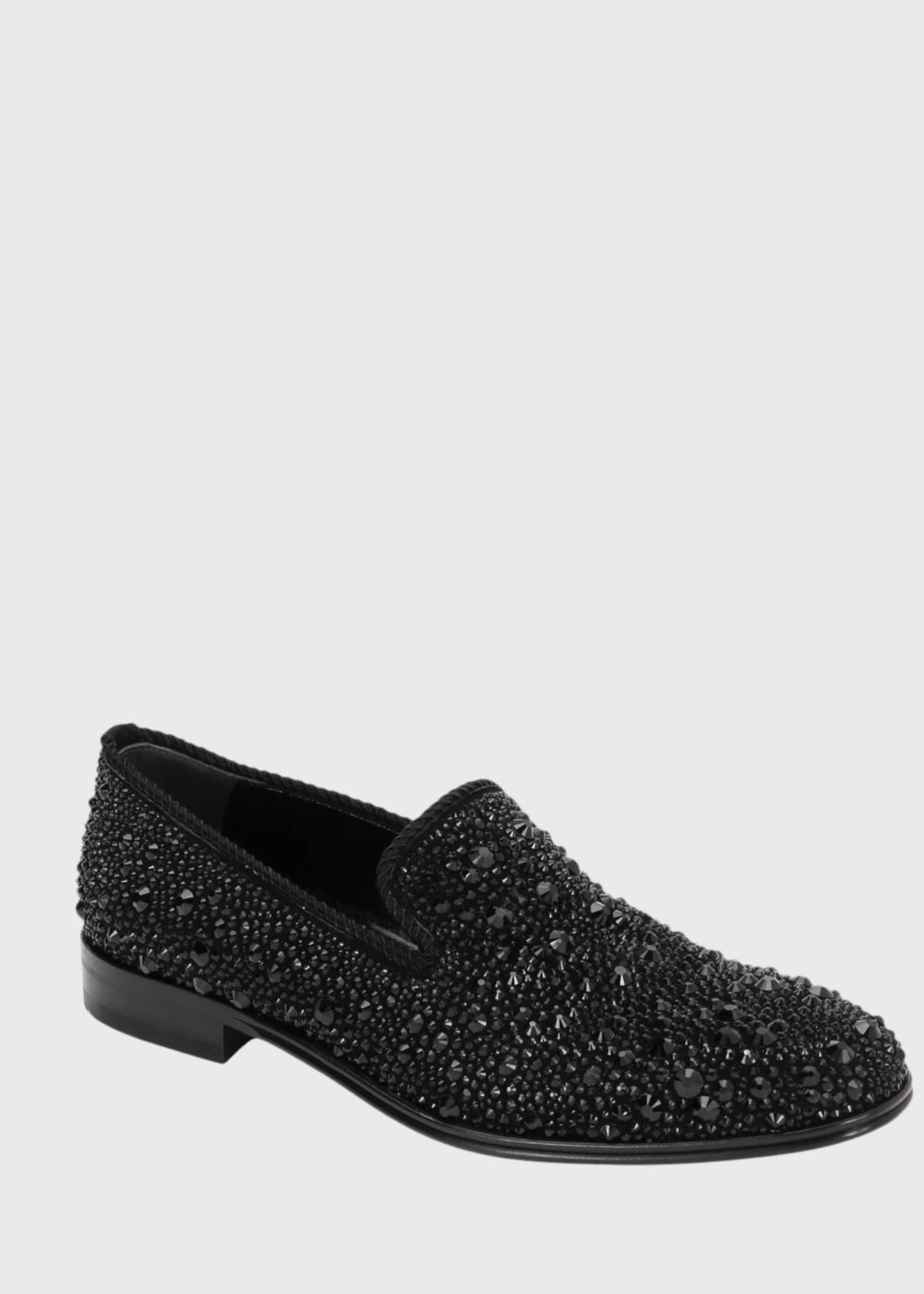 Alexander McQueen Men's Crystal-Embellished Formal Slip-On Shoes