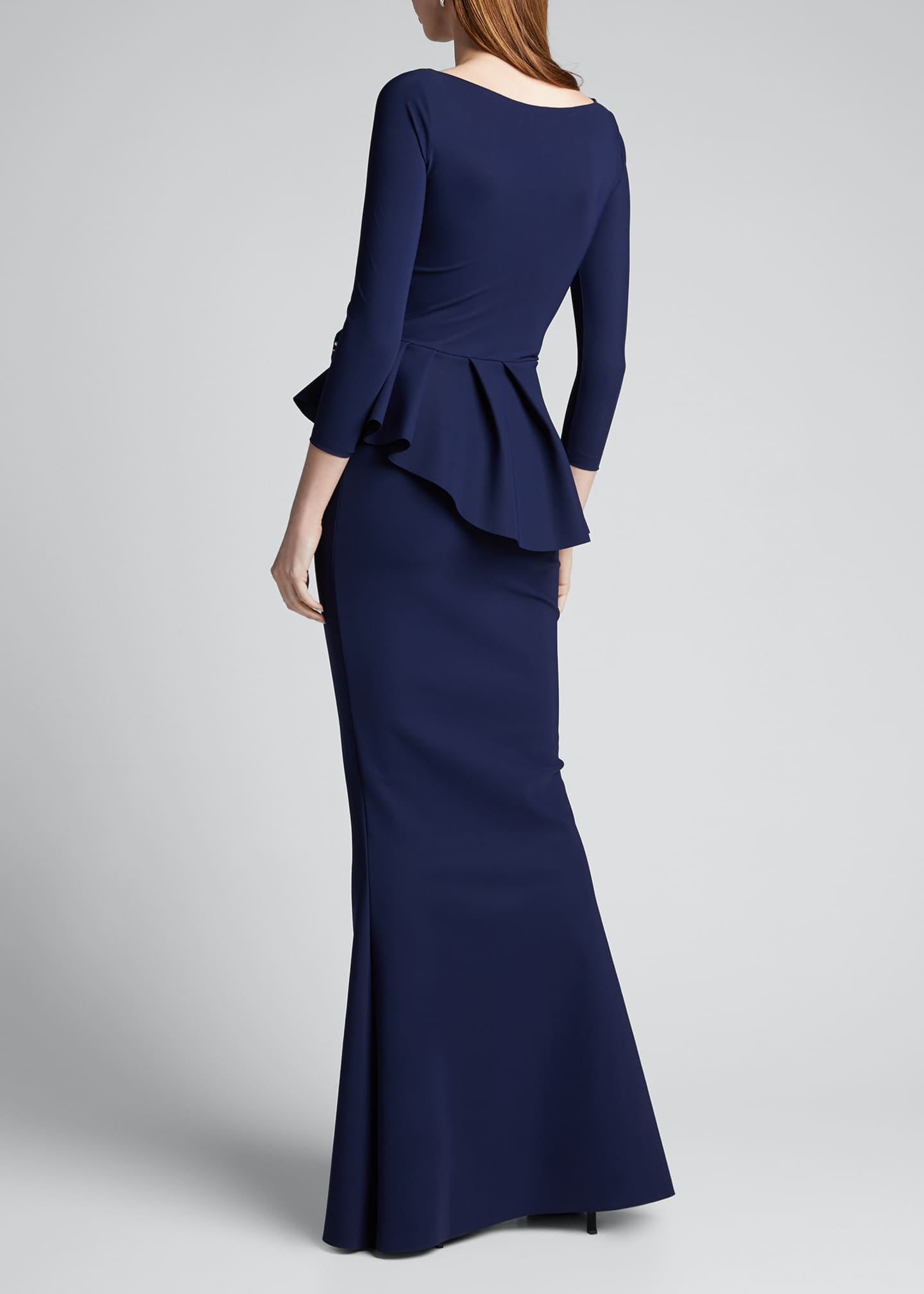 Image 2 of 5: Boat-Neck 3/4-Sleeve Rosette Peplum Gown