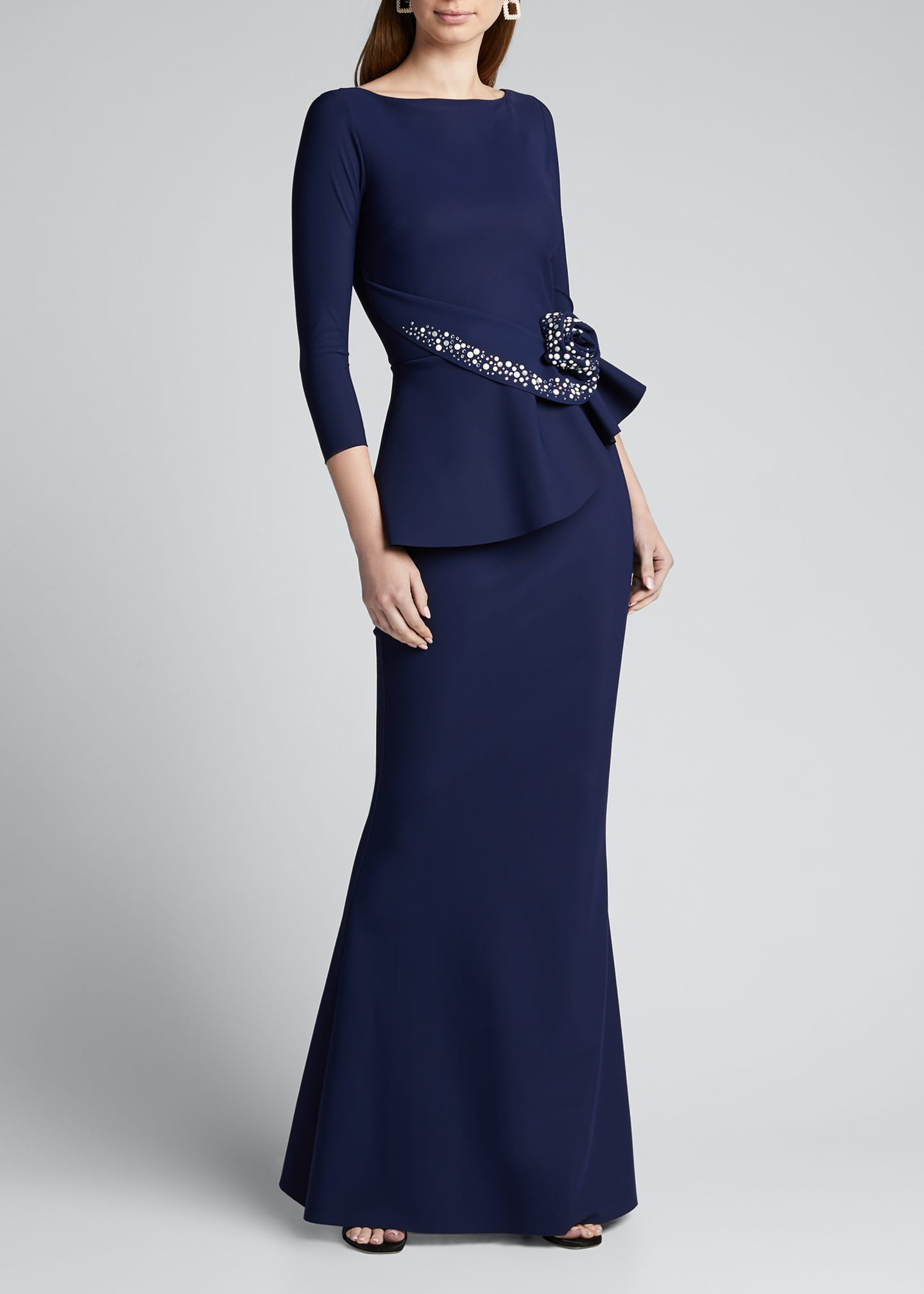 Image 3 of 5: Boat-Neck 3/4-Sleeve Rosette Peplum Gown