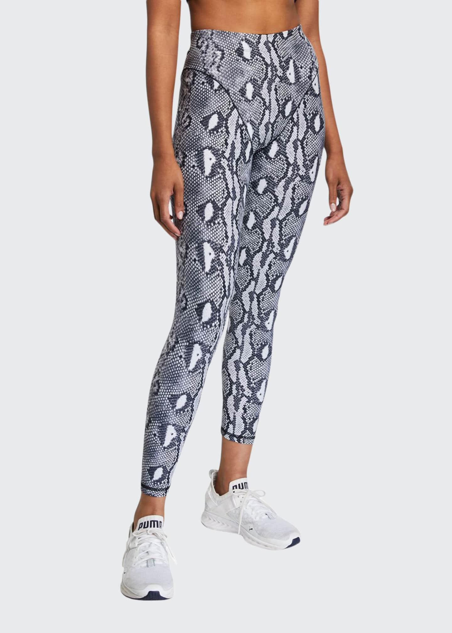 Adam Selman Sport French Cut Python-Printed Leggings